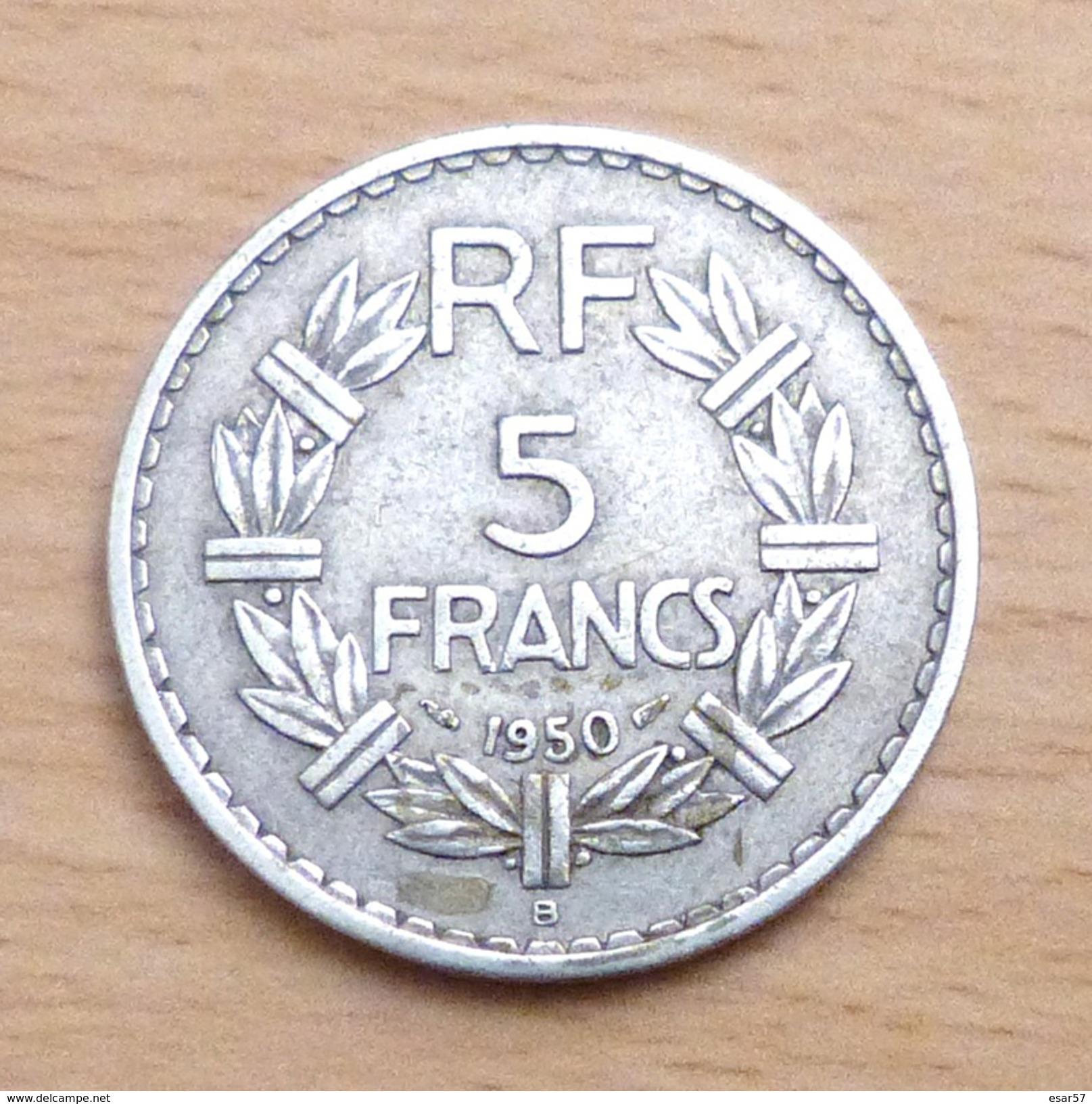 5 FRANCS LAVRILLIER 1950 B EN ALUMINIUM - France