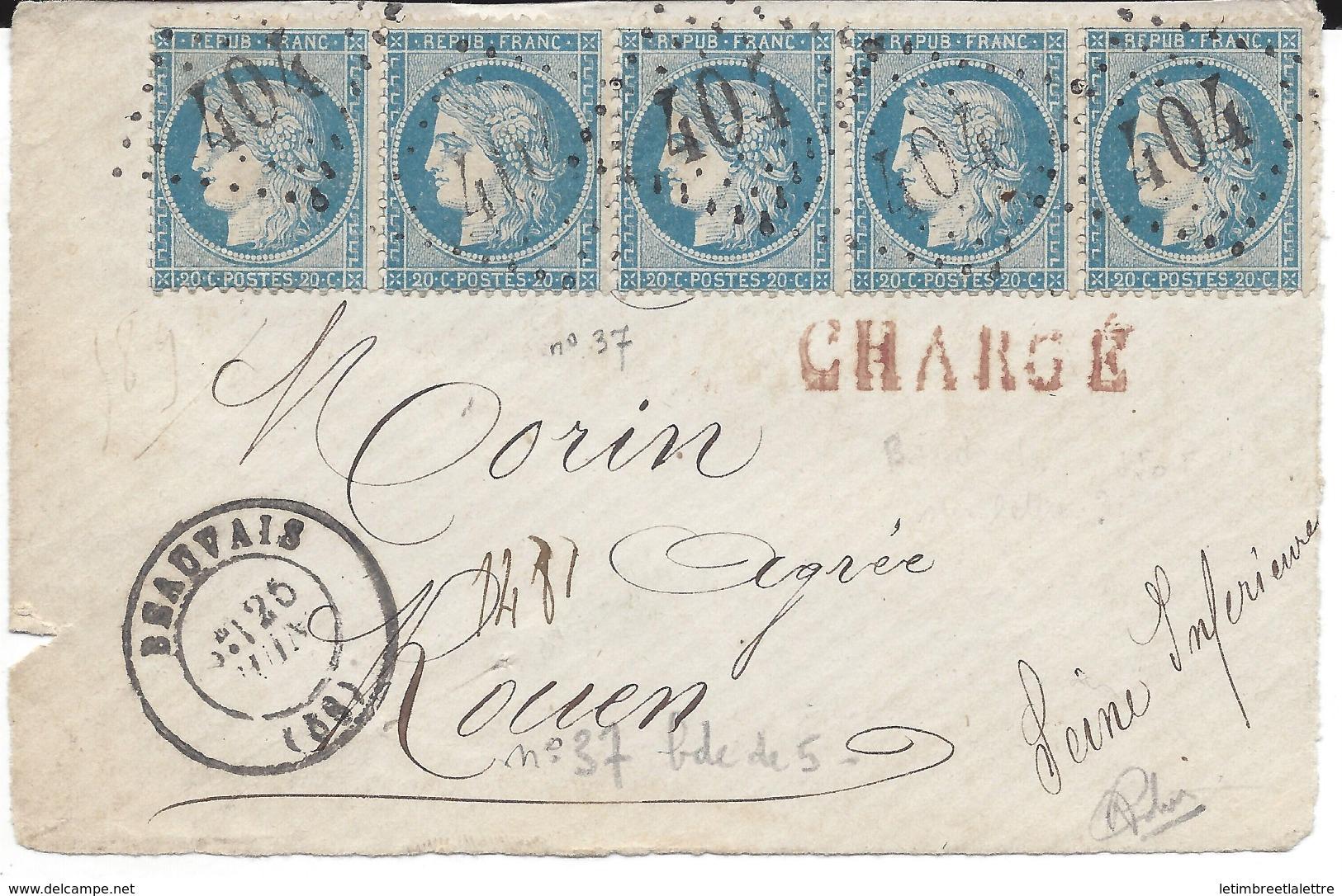 Bande Du N° 37, Chargé ( Devant De Lettre ) - 1876-1878 Sage (Type I)