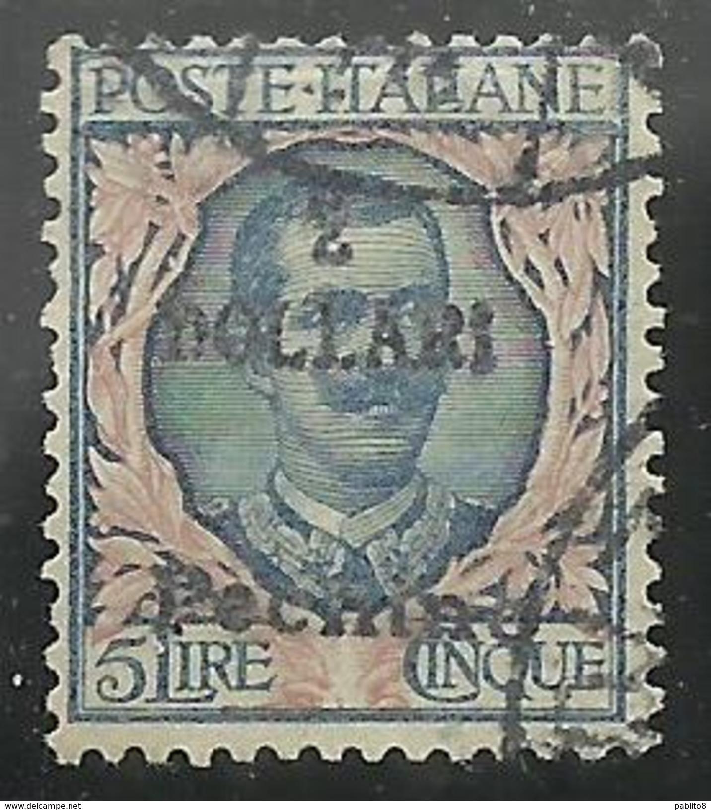 PECHINO BEIJING 1919 1920 SOPRASTAMPATO D'ITALIA ITALY OVERPRINTED 2 DOLLARI DOLLARS SU LIRE 5 USATO USED CERTIFICATO - 11. Uffici Postali All'estero