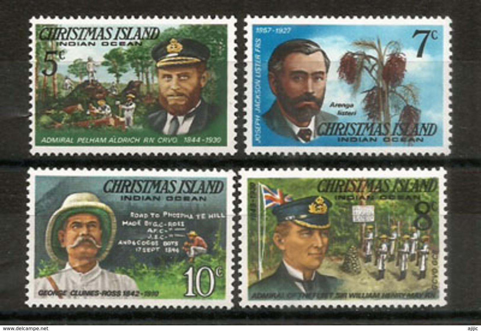 Explorateurs De L´ILE CHRISTMAS. Océan Indien: Clunies-Ross,Amiral Pelham Aldrich,etc  4 Timbres Neufs ** - Christmas Island