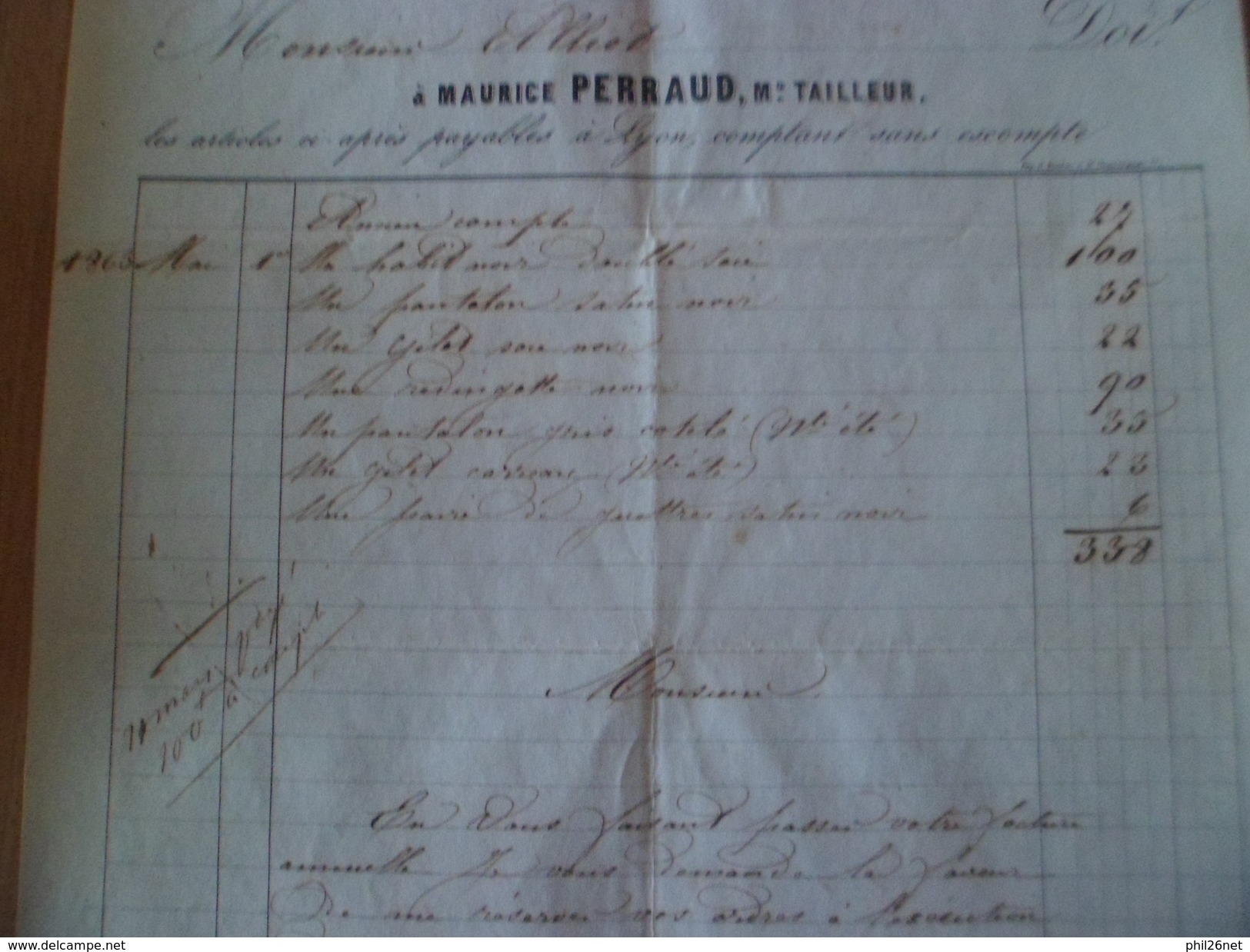 Facture De Costume Et Habits Divers à Payer Comptant Et Sans Escompte Pour 338 Francs=  680 Euros 16 Février 1864 + B/TB - Textile & Clothing