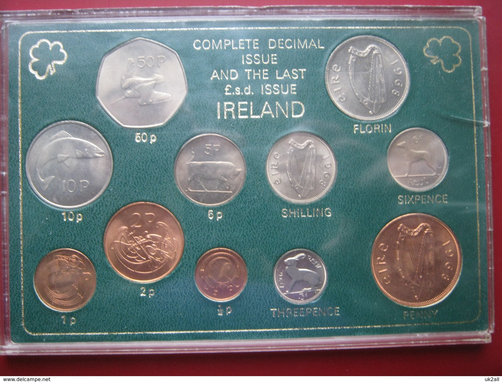 Ireland 1960-s 1970-s Complete Decimal & The Last LSD Issue UNC 11 Coin Set Cased - Ireland