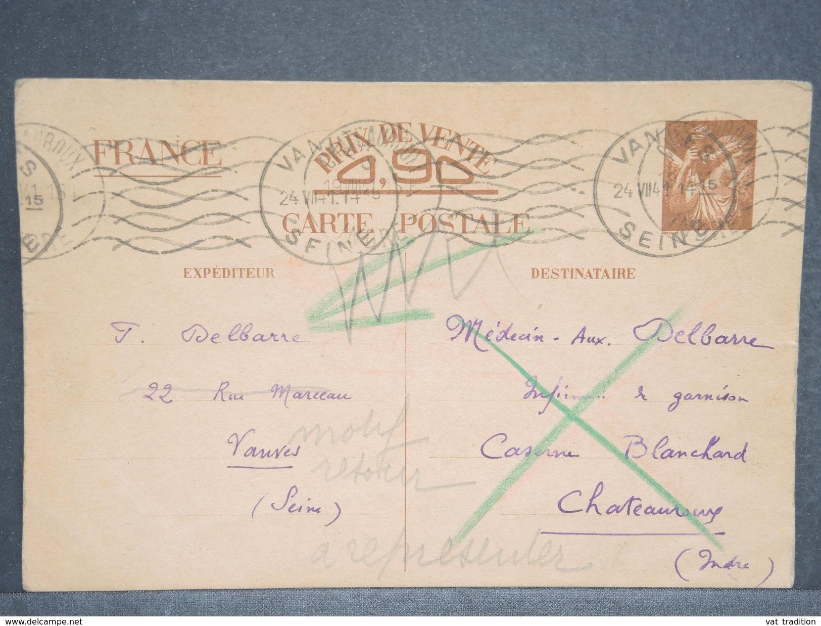 FRANCE - Entier Postal Type Iris De Vanves Pour Châteauroux En 1941 Et Retour  - L 6656 - Entiers Postaux