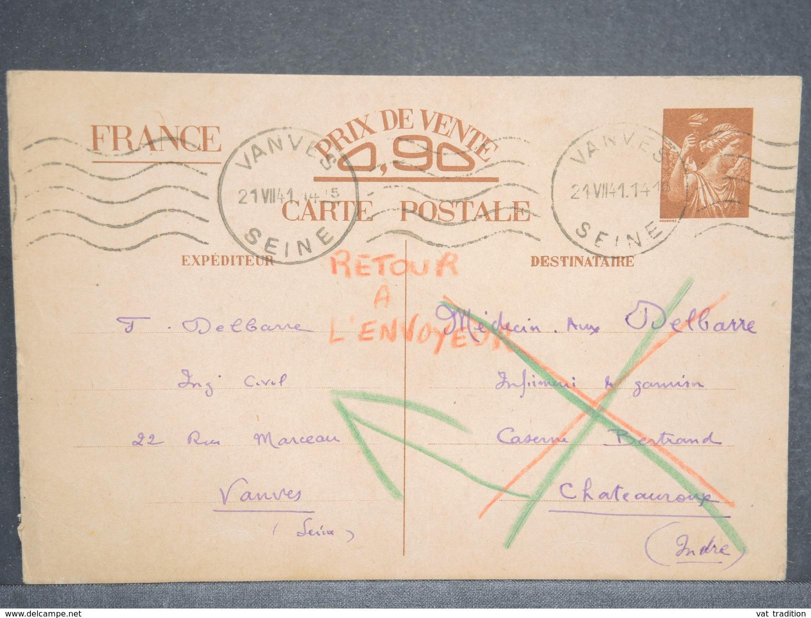 FRANCE - Entier Postal Type Iris De Vanves Pour Châteauroux En 1941 Et Retour - L 6658 - Cartes Postales Types Et TSC (avant 1995)