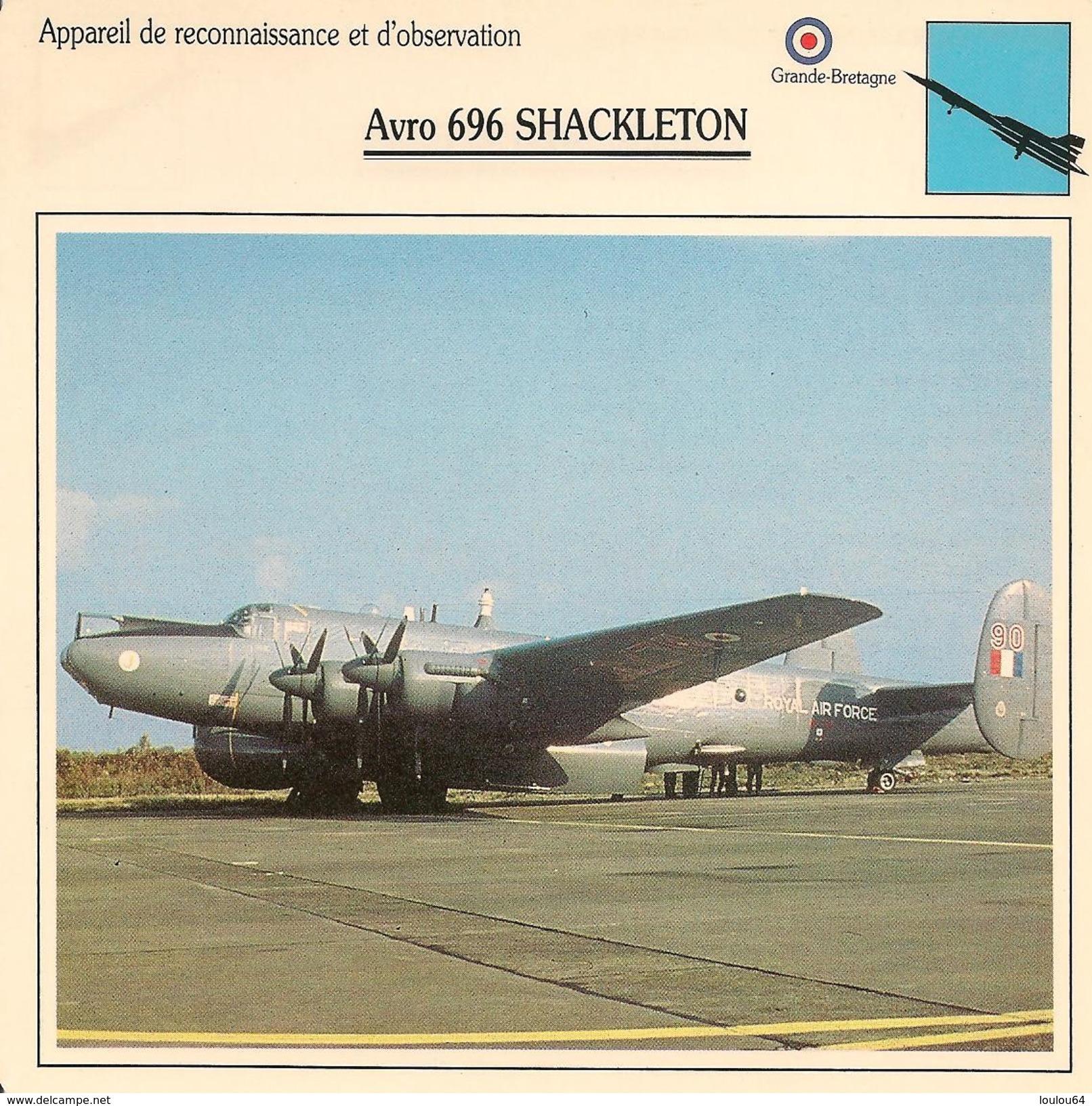Fiches Illustrées - Caractéristiques Avions - Appareil De Reconnaissance - Avro 696 SHACKLETON - Grande Bretagne - (37) - Aviation