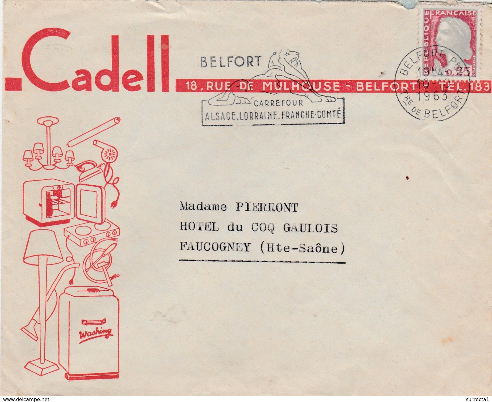 Enveloppe Commerciale /  CADELL / Electromenager Belfort / 90 / Flamme Du Lion De Belfort - Autres