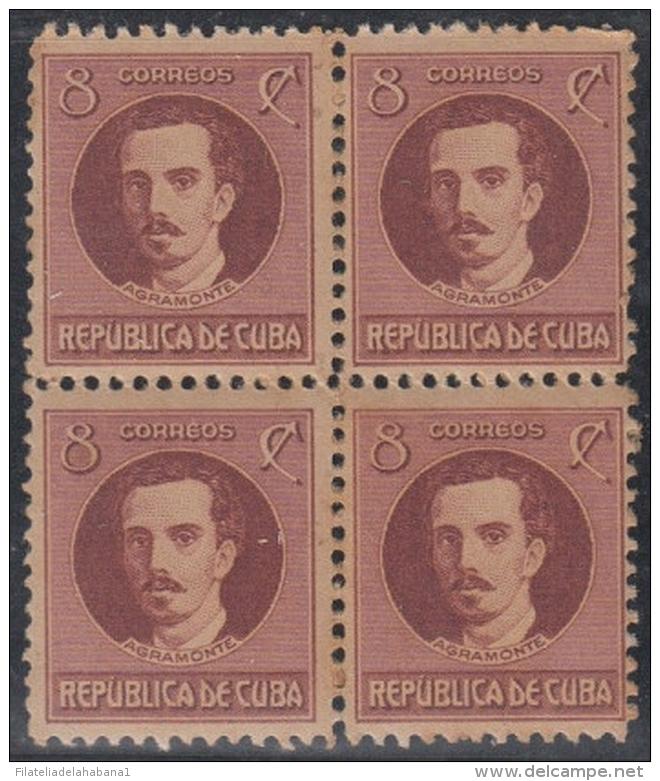 1917-223 CUBA REPUBLICA. 1917-28. 8c IGNACIO AGRAMONTE. BLOCK 4 GOMA ORIGINAL. - Kuba