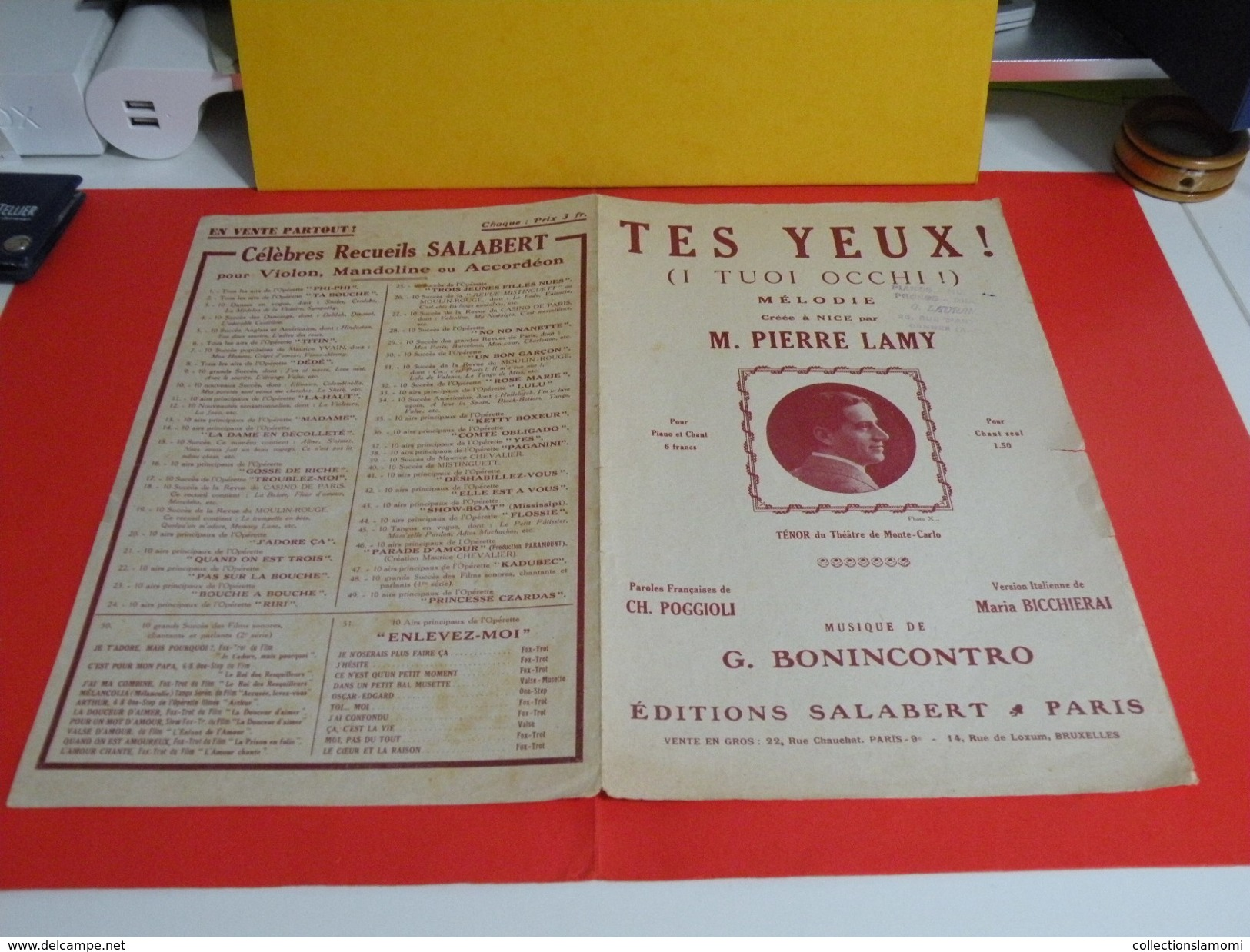 Musique & Partitions > Chansonniers Opéra > Tes Yeux -Paroles Charles Poggioli -Musique G. Bonincontro 1916 - Opéra