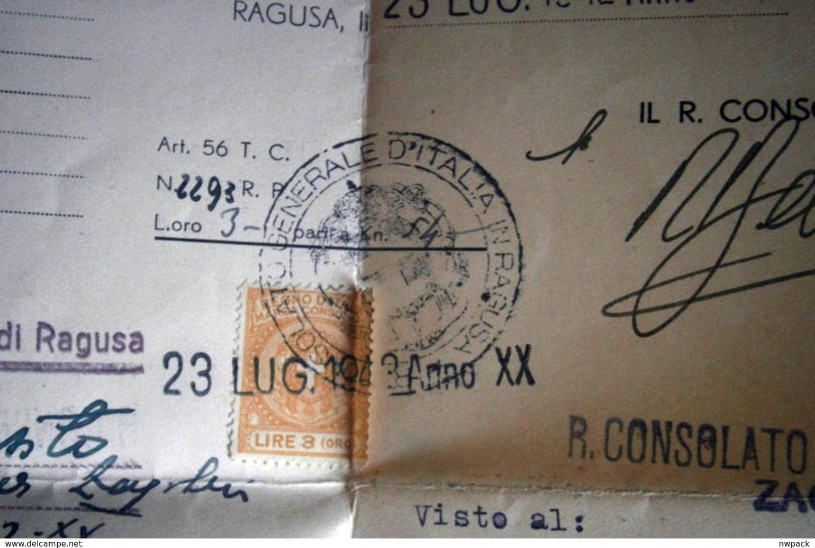 "WWII - NDH, Croatia, Italia -  Very Rare Document  - ""LASCIAPASSARE""  RAGUSA (Dubrovnik), Zagreb - 1942. - Documenti Storici"