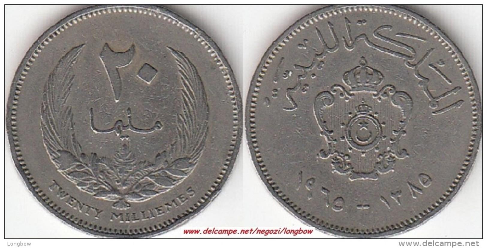 LIBIA 20 Milliemes 1965 KM#9 - Used - Libye