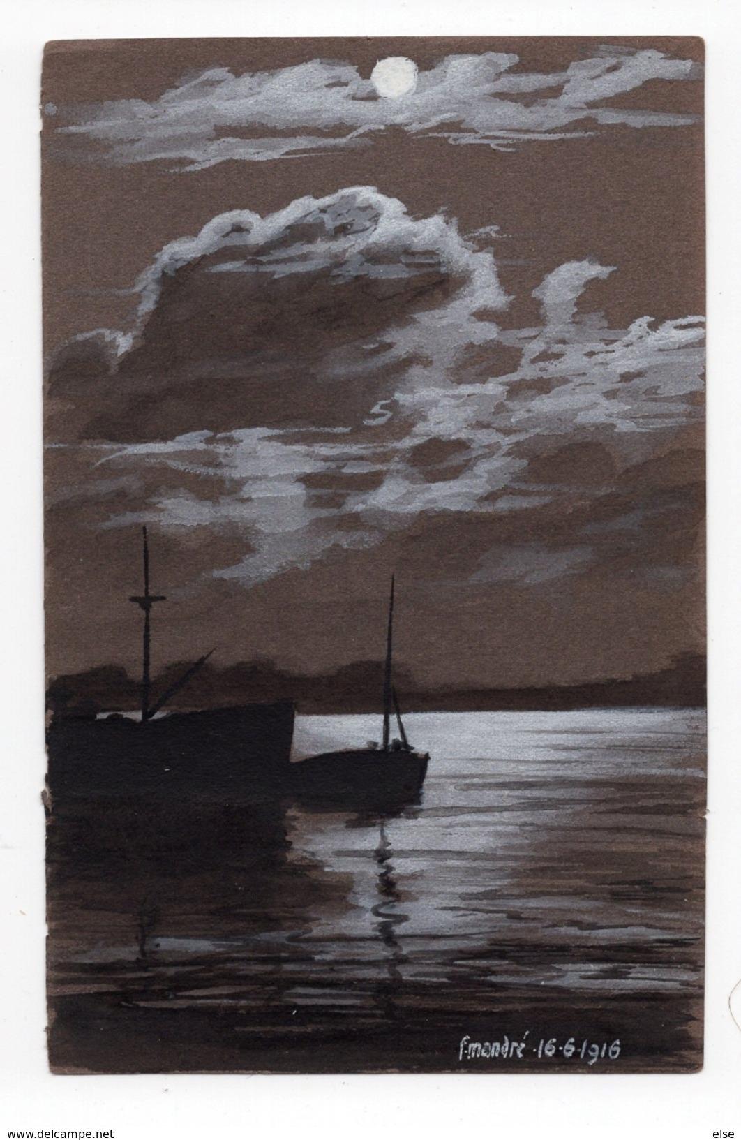 PORT BATEAUX  BORDEAUX  F  MANDRE  PASTEL - CRAIE SUR PAPIER A DESSIN FONCE 1916 FORMAT CARTE POSTALE ANCIENNE - Pastel