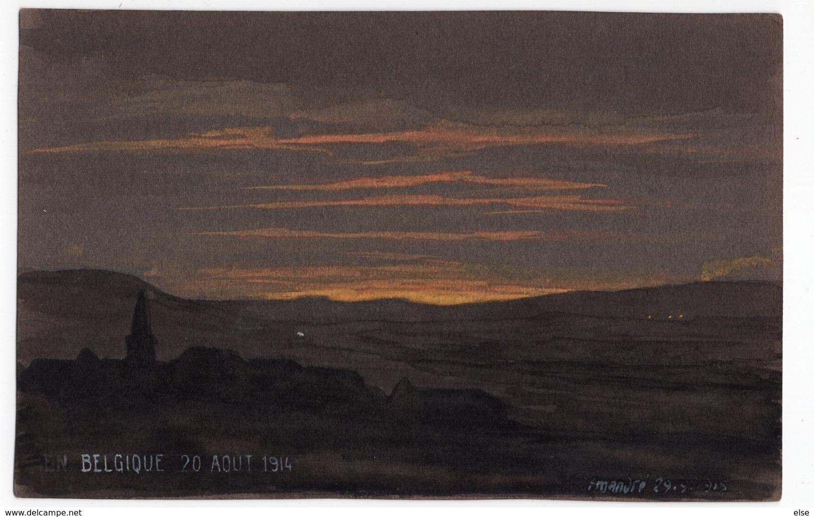 BELGIQUE 20 AOUT 1914  F  MANDRE  PASTEL - CRAIE SUR PAPIER A DESSIN FONCE1915 FORMAT CARTE POSTALE ANCIENNE - Pastel