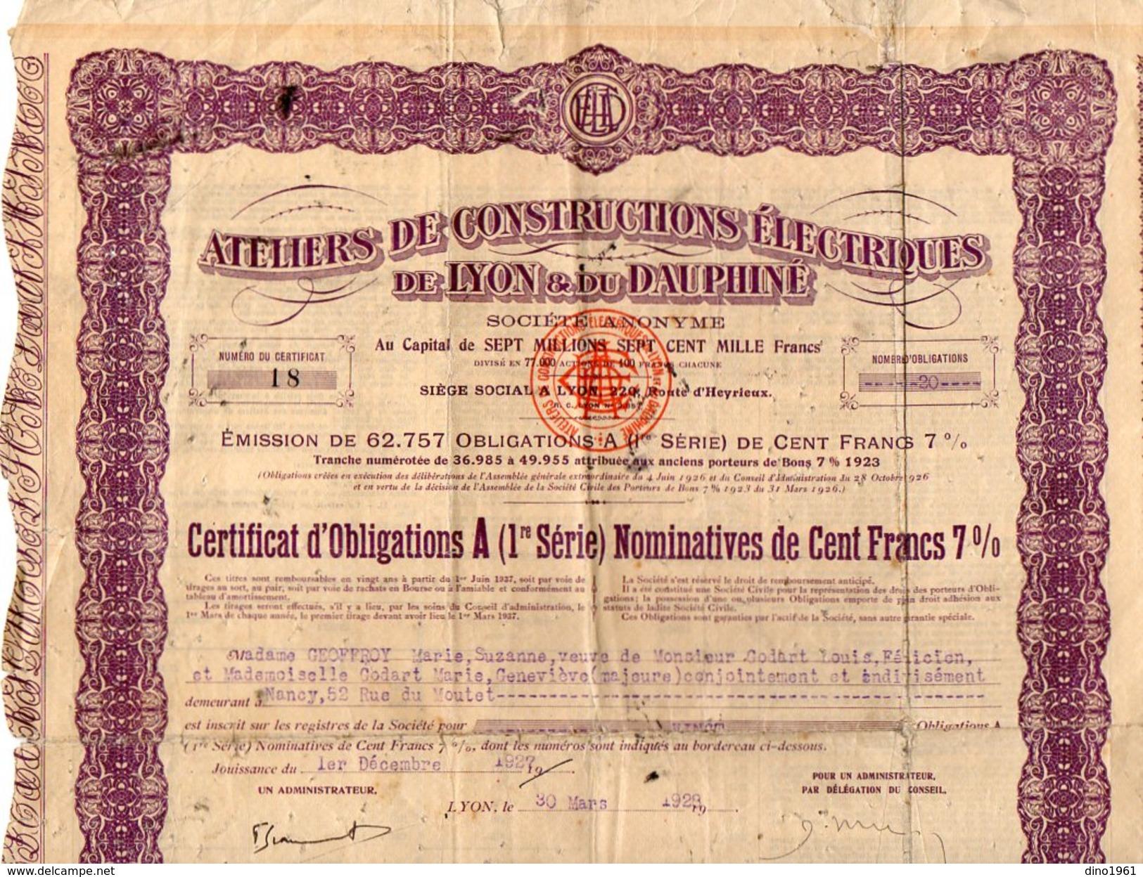 VP9738 - LYON 1928 - Action - Ateliers De Constructions Electriques De LYON & Du Dauphiné - Electricité & Gaz