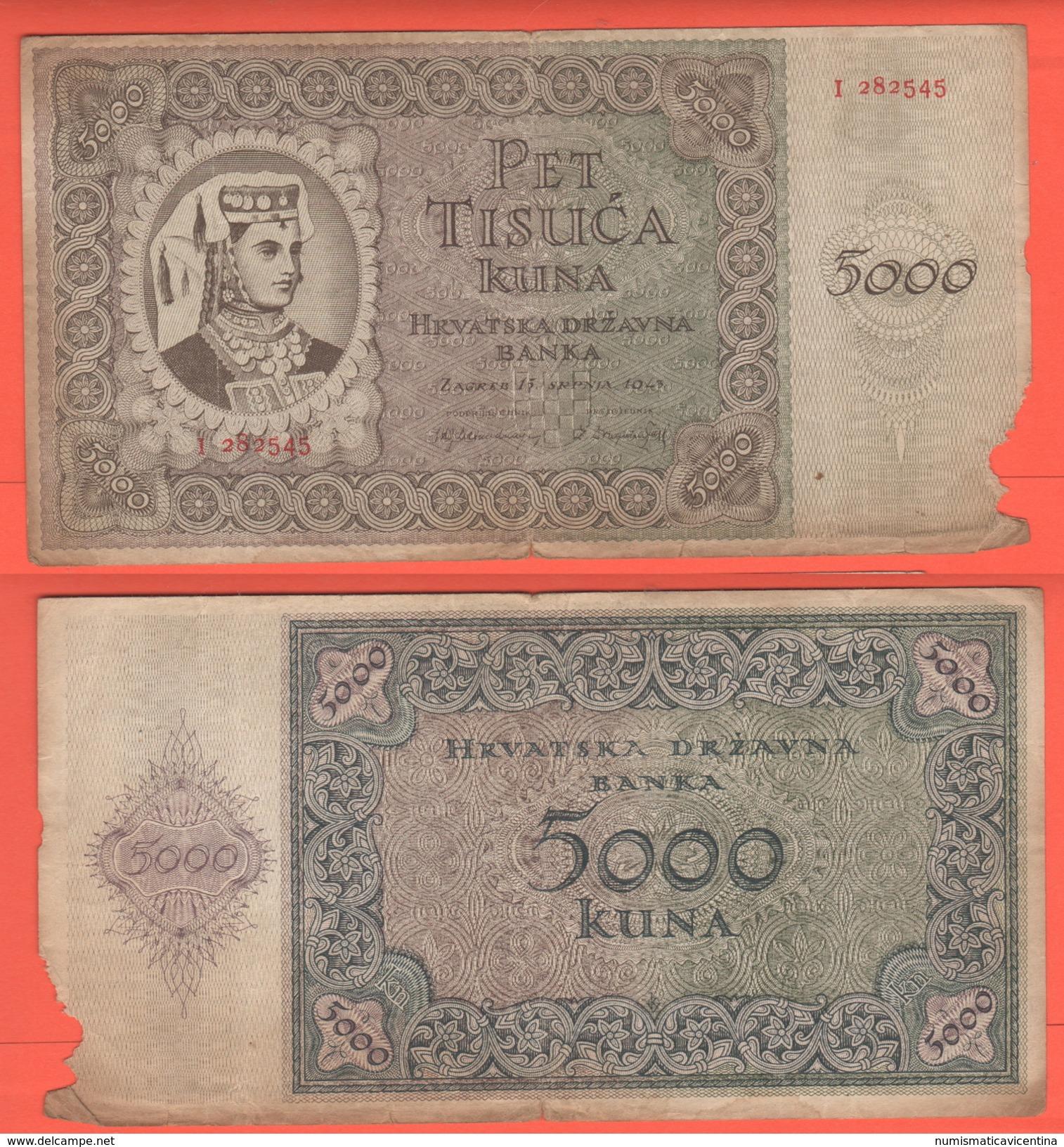 Croatia Croazia Hrvatska 5000 Kuna 1943 - Croatie