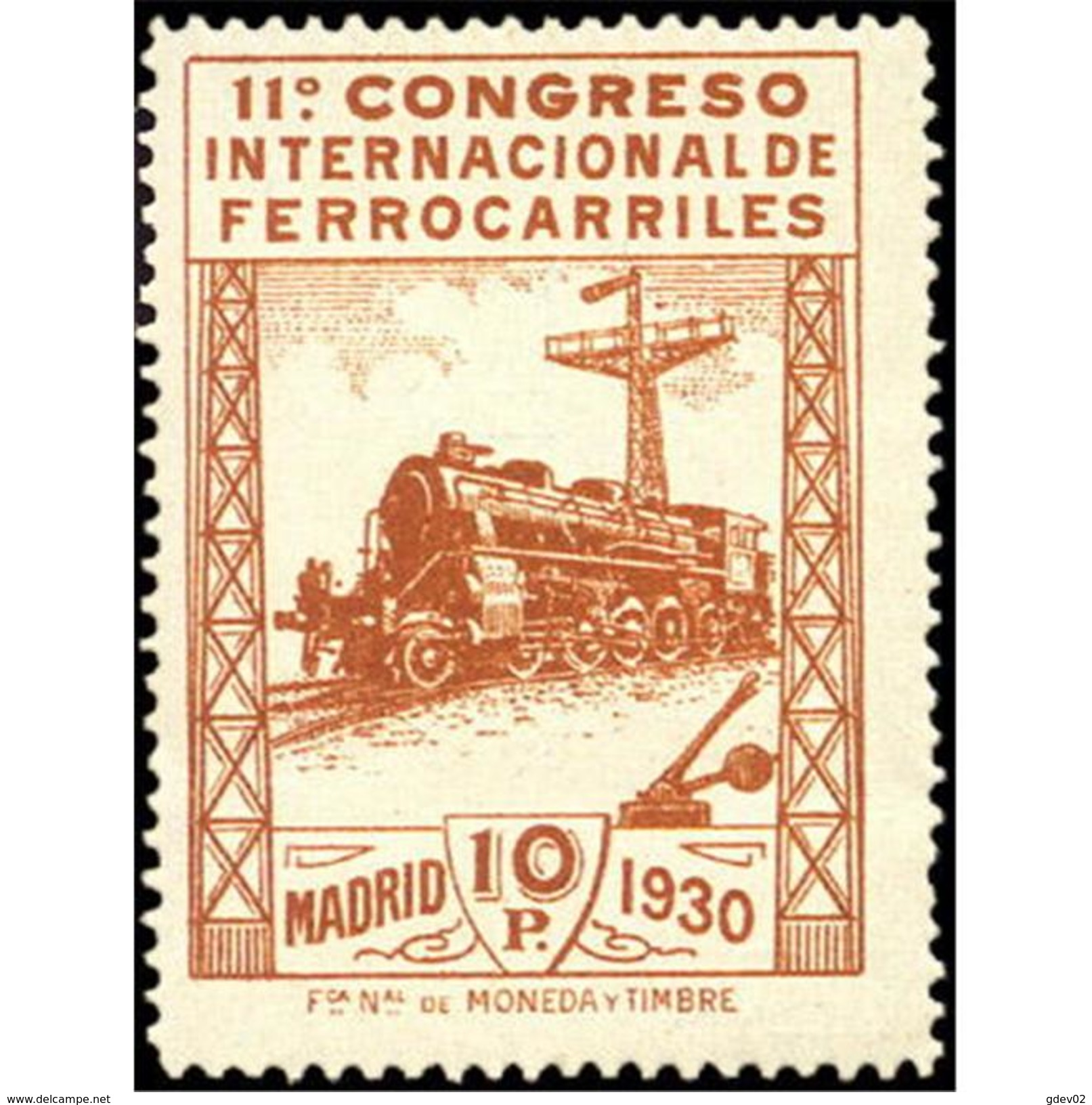 ES481STV-LFT***481STAN.Spain.Esgane.AVION,Congreso Internacional De FERROCARRILES.1930 (Ed 481**) - 1889-1931 Reino: Alfonso XIII