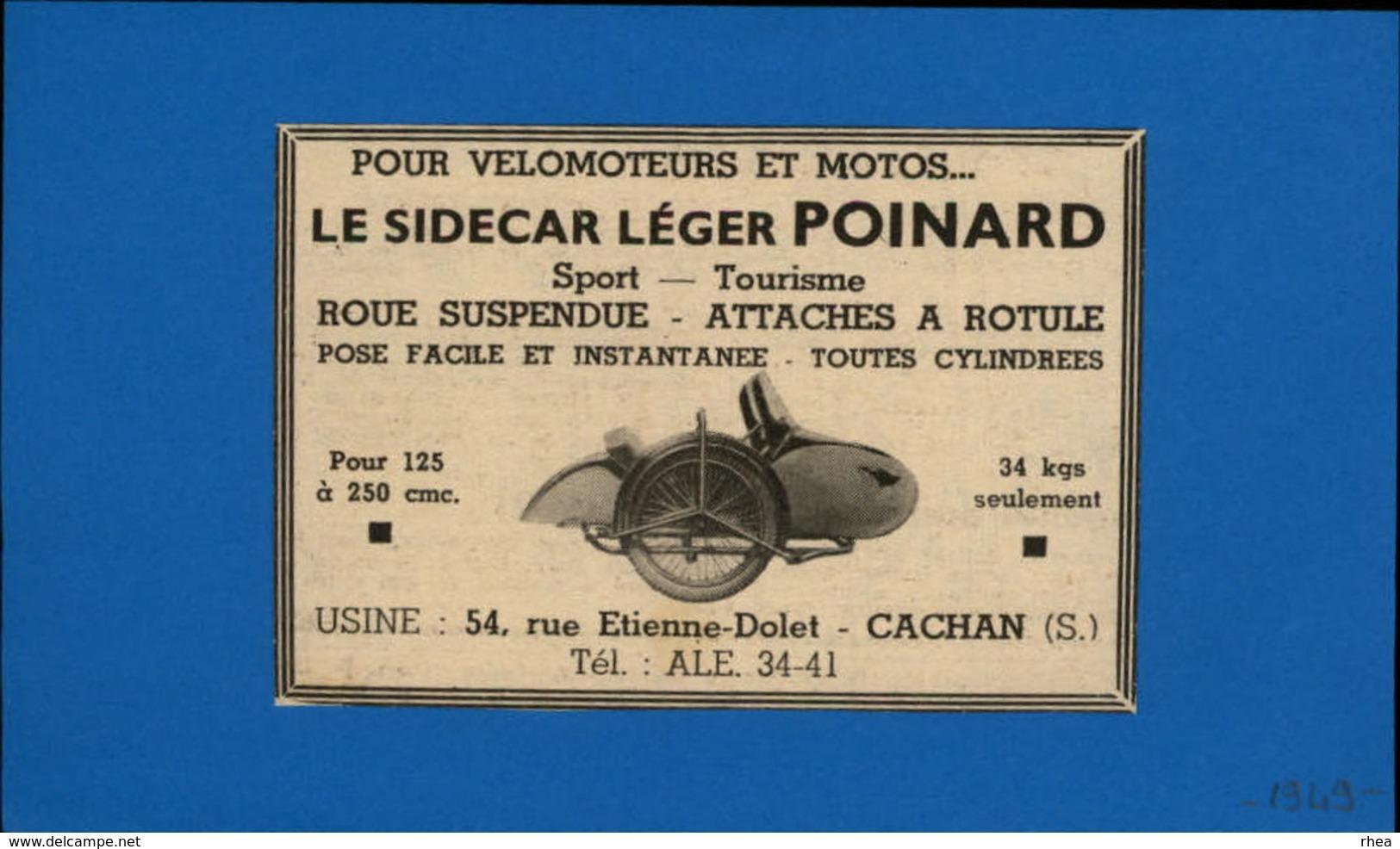 MOTO - SIDECAR - Publicité Issue D'une Revue De 1949 Et Collée Sur Feuillet - Publicités