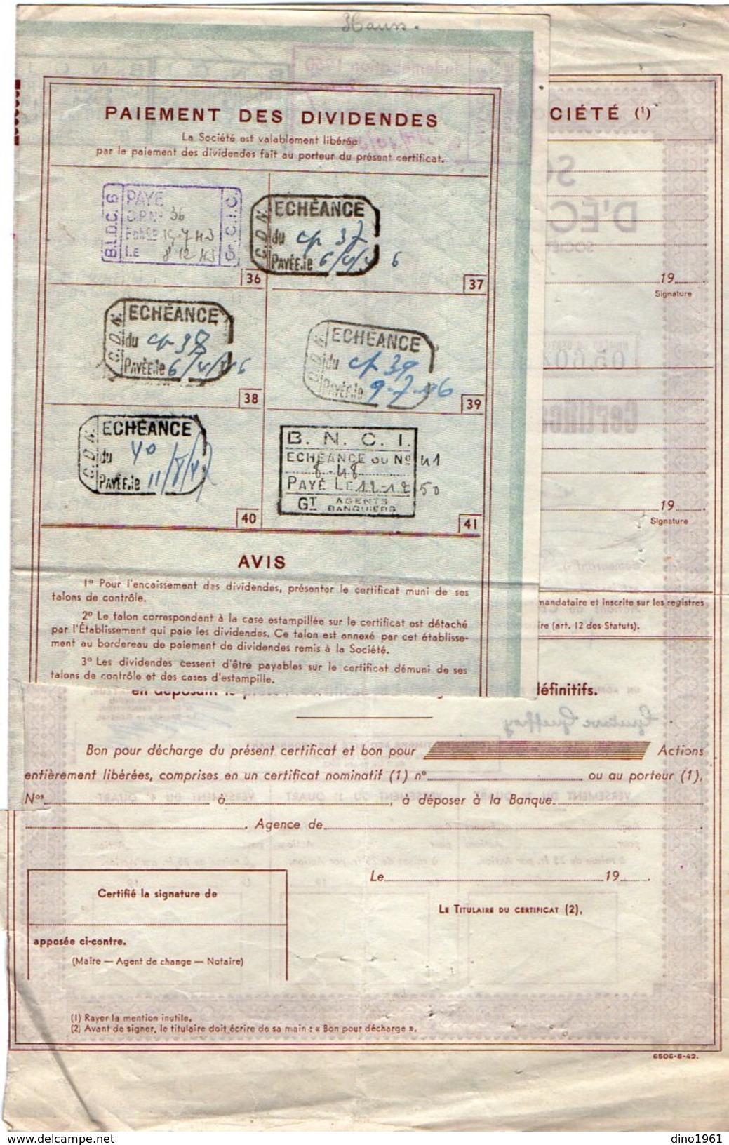 VP9743 - BETHUNE 1943 - Action - Société Béthunoise D'Eclairage Et D'Energie - Electricité & Gaz