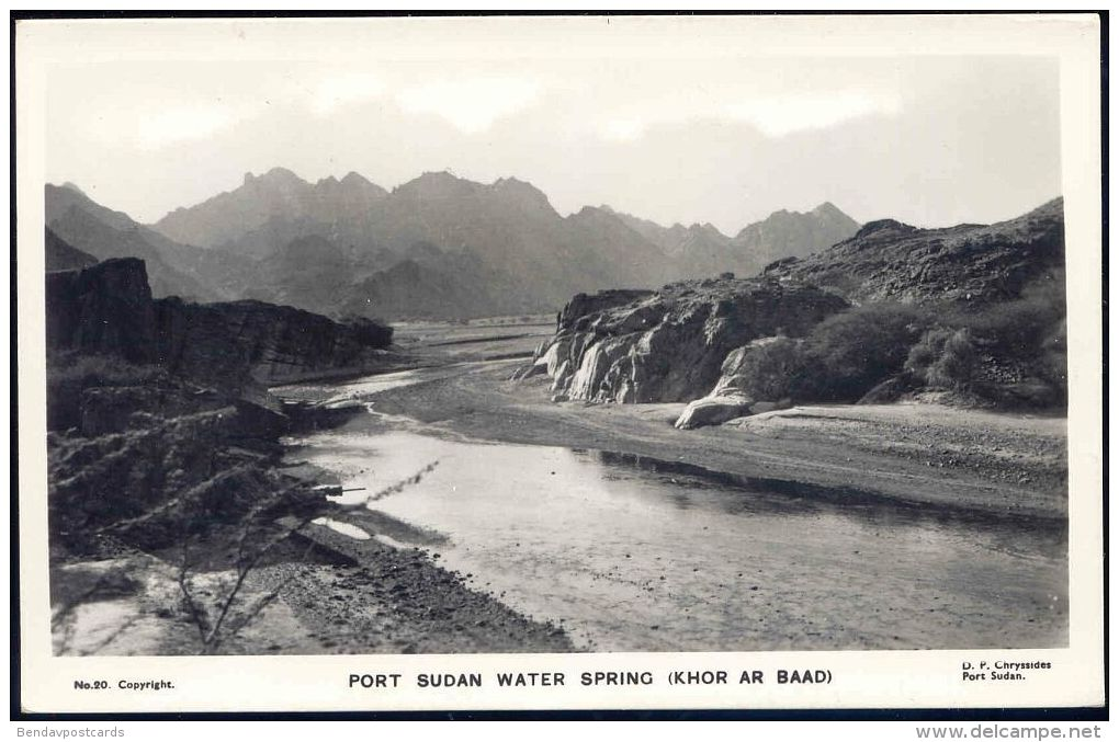 Sudan, PORT SUDAN, Water Spring, Khor Ar Baad (1960s) RPPC - Sudan