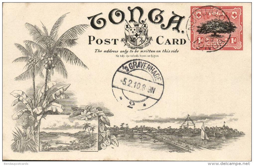 Tonga Islands, A Native Village (1909) Pre-Printed Stamp - Tonga