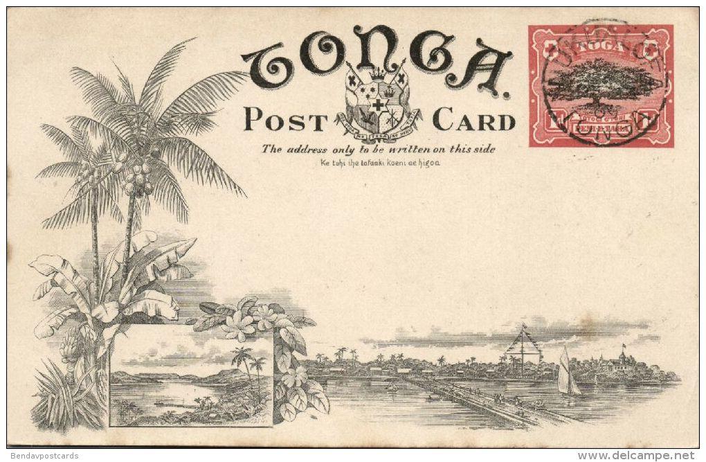 Tonga Islands, NUKUALOFA, Panorama (1909) Pre-Printed Stamp - Tonga
