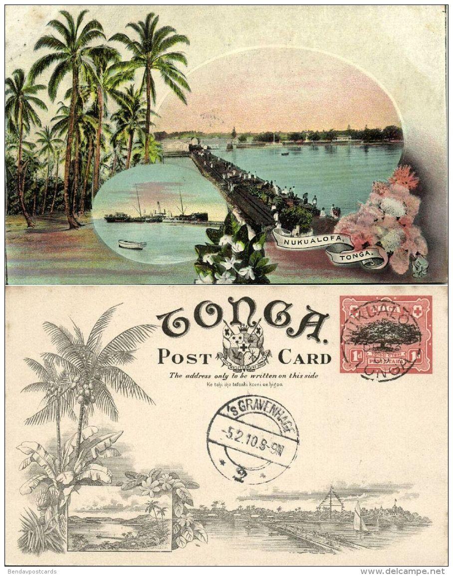 Tonga Islands, NUKUALOFA, Bridge, Steamers (1909) Pre-Printed Stamp - Tonga