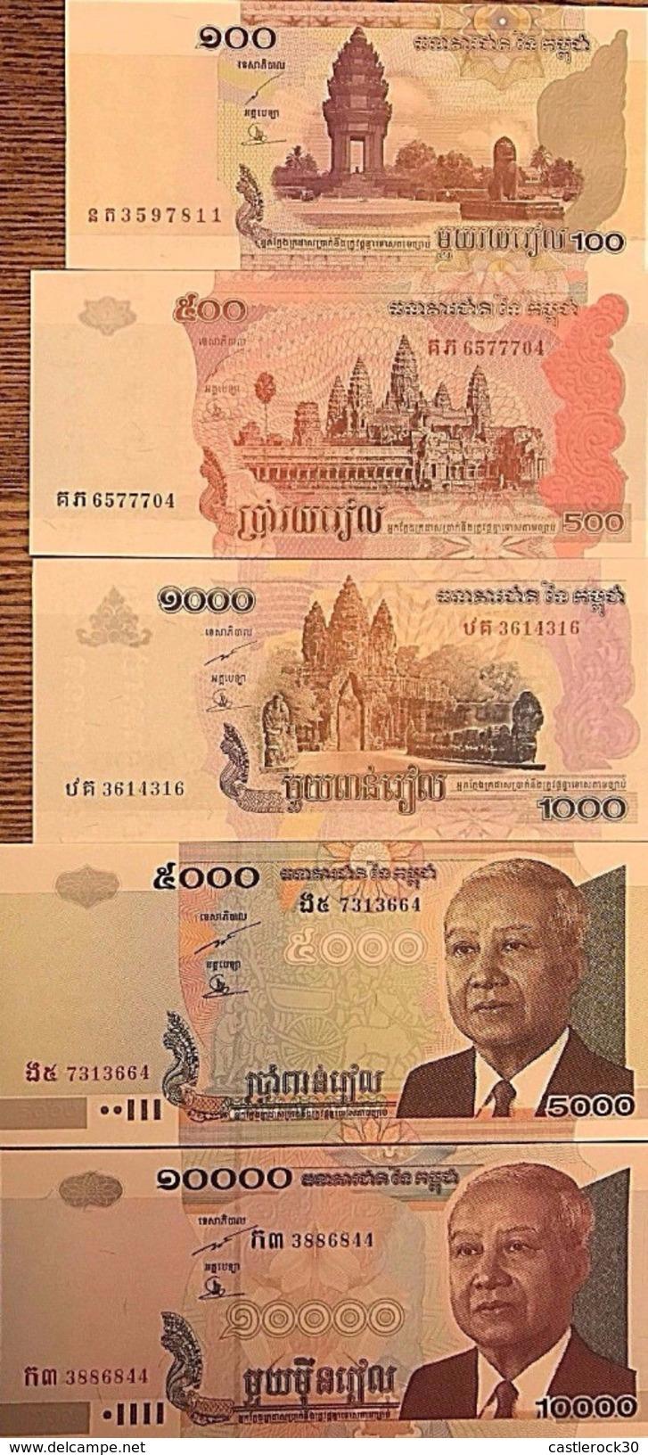 C) CAMBODIA, RIELS SET 5 PCS 100,500,1000,5000,10000  NEW UNC 2001-2004-2006- 2007 - Cambodia