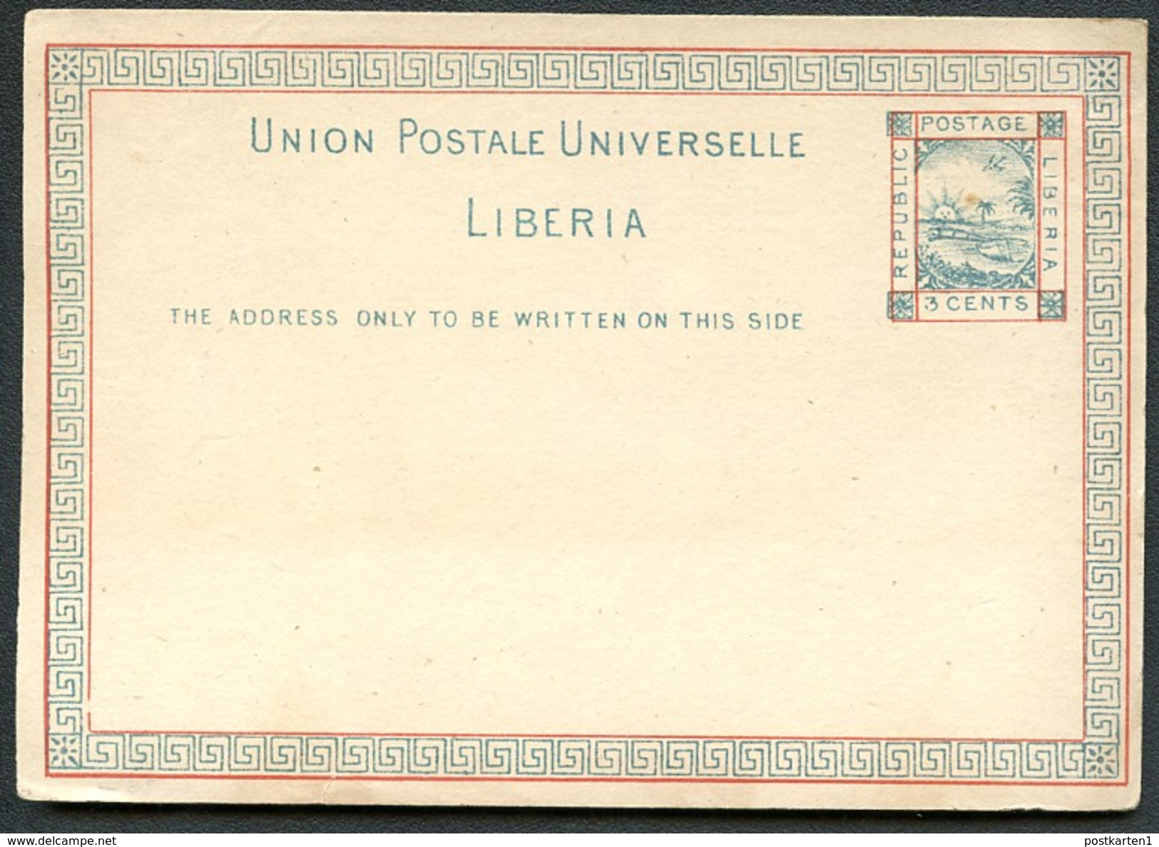 LIBERIA Postal Card #1 Mint Vf 1882 - Liberia