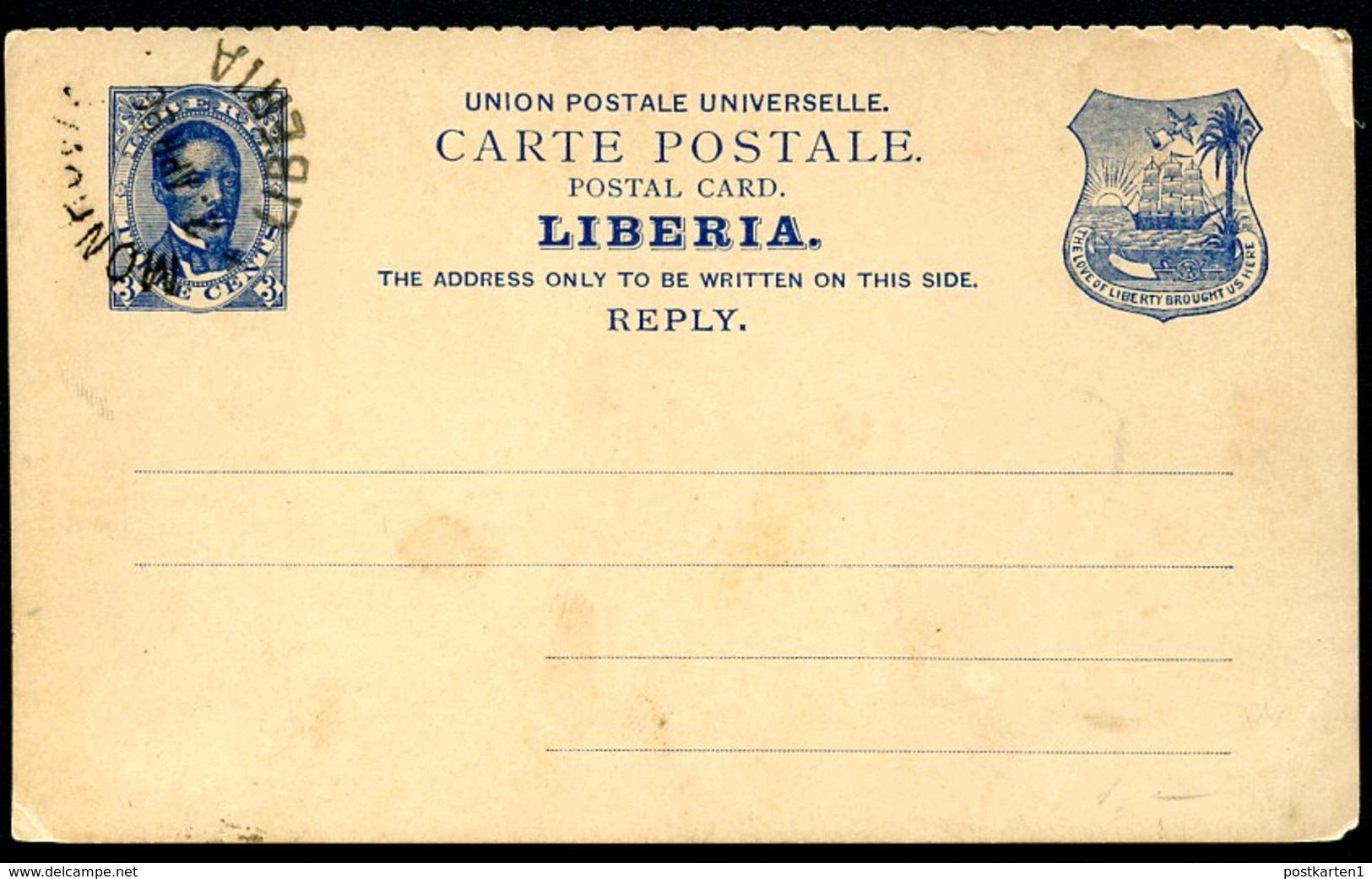 LIBERIA Reply Postal Card #5 President Benson MONROVIA 1896 - Liberia
