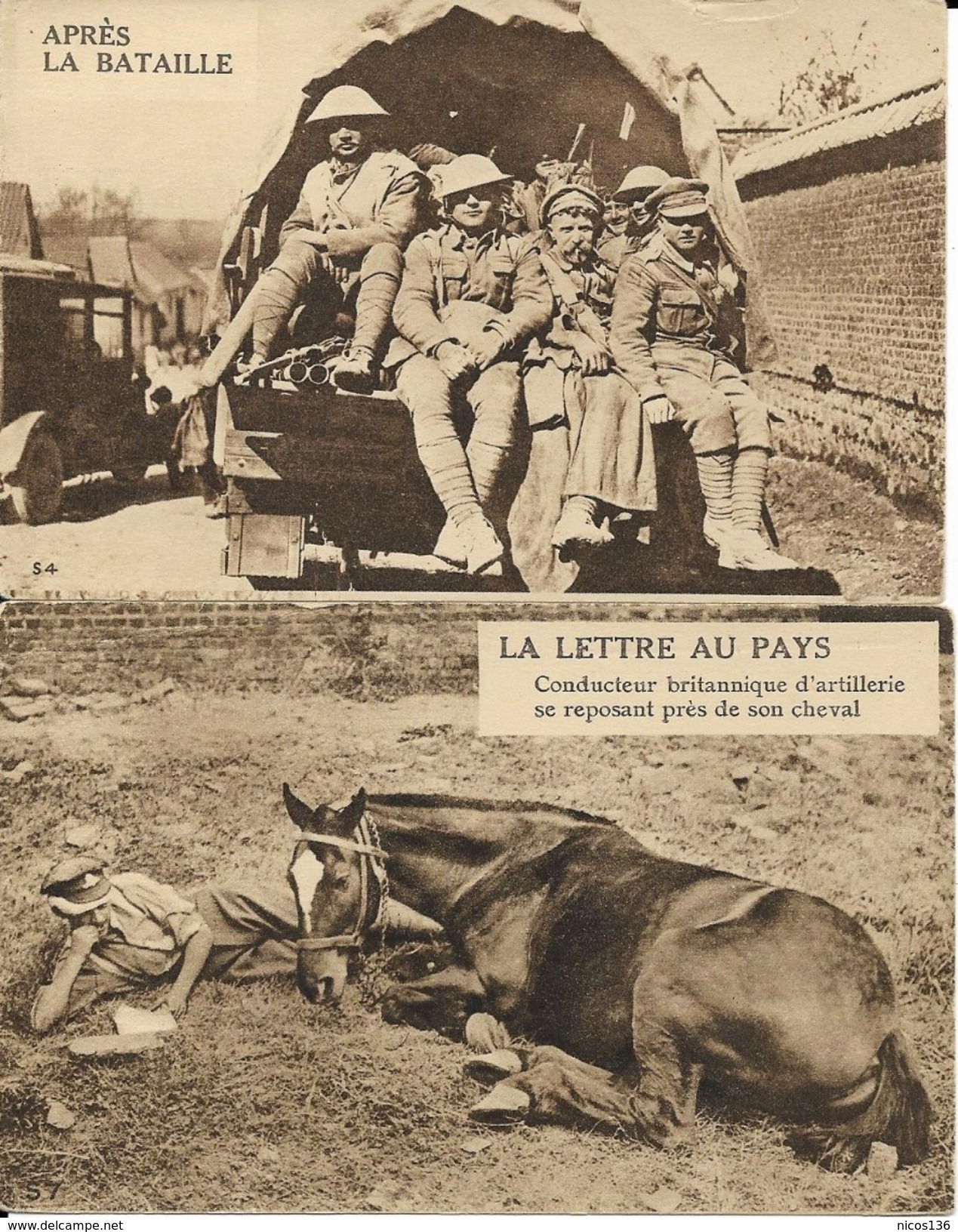 GUERRE 1914-1918   ARMEE ANGLAISE   2 CARTES    LA LETTRE AU PAYS  --  APRES LA BATAILLE - Oorlog 1914-18