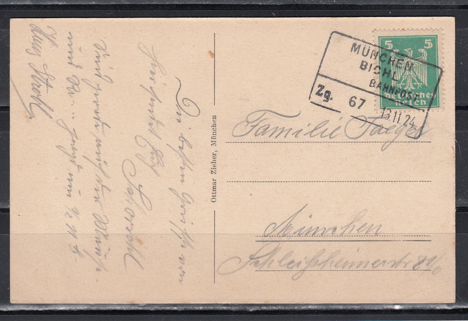 """Dt.Reich Bahnpost-Kasten-o """"München/Bichl/Bahnpost/Zg.67/13.11.24"""" Auf Ak Schloß Eurasburg Im Isarttal EF356 - Briefe U. Dokumente"""