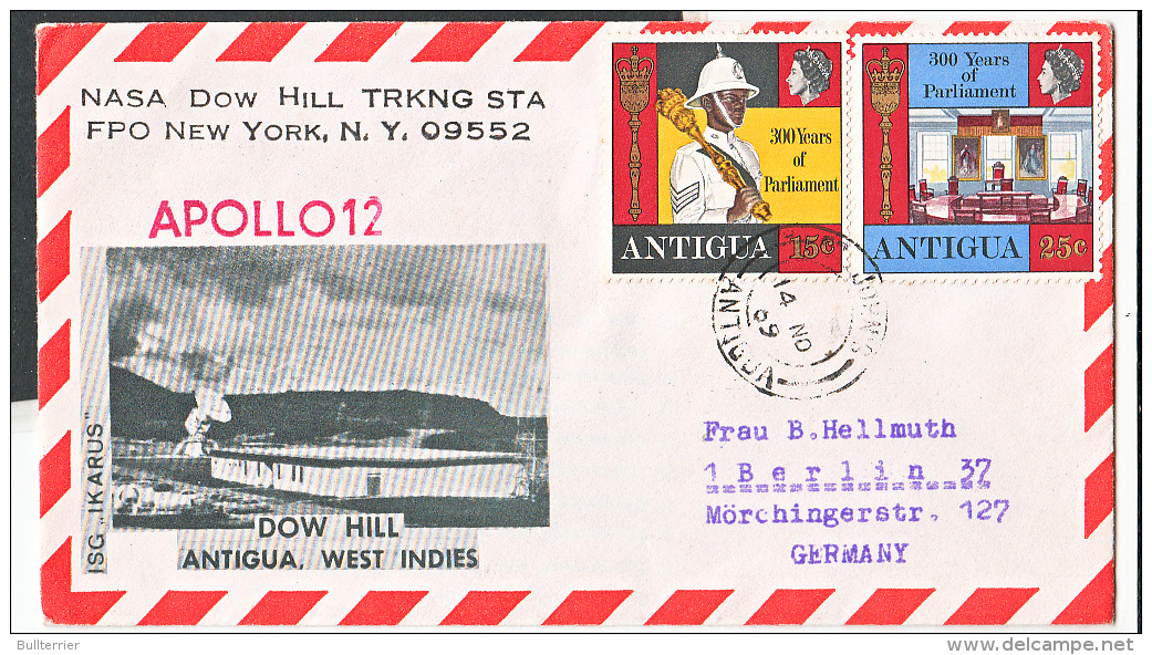 SPACE - ANTIGUA - 1969 - APOLLO 12 TRACKING STATION COVER  WITH BACKSTAMP CACHET - Covers & Documents
