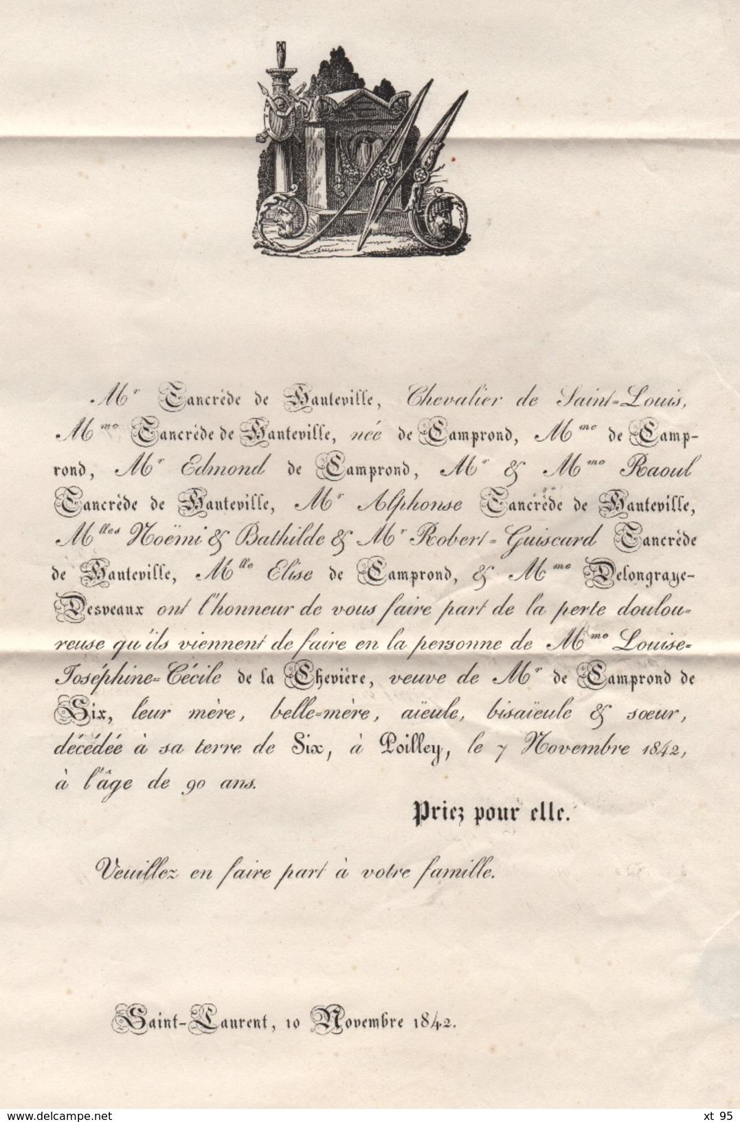 Mortain - 48 - Manche - Faire Part Illustre - Saint Laurent - Poilley - 1842 - Famille De La Cheviere - Marcophilie (Lettres)