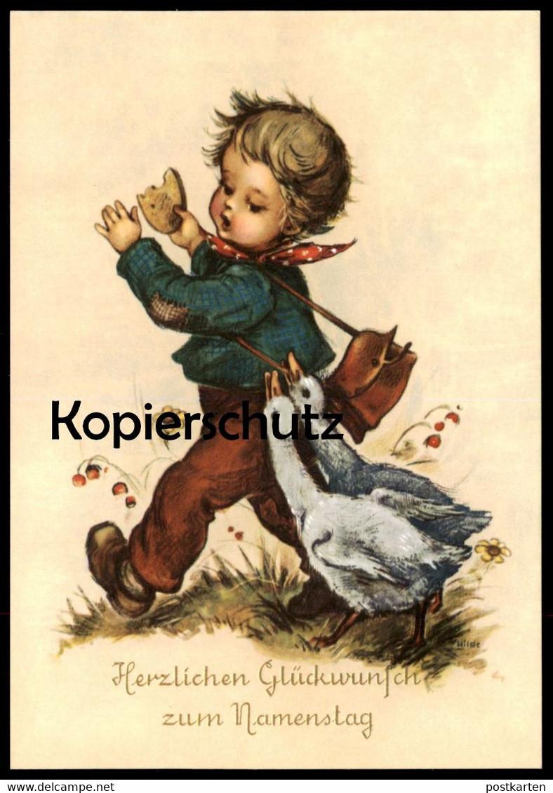 ALTE KÜNSTLER-POSTKARTE HERZLICHEN GLÜCKWUNSCH ZUM NAMENSTAG KIND GANS goose oie child enfant cpa AK postcard