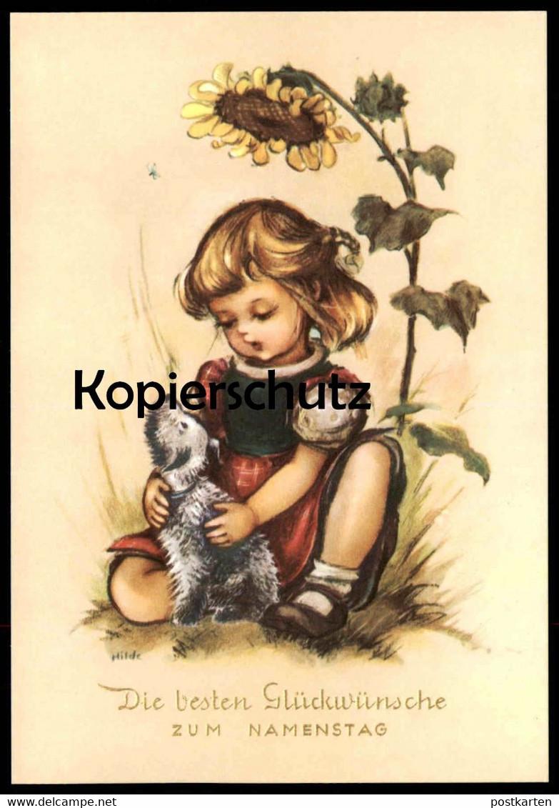 ALTE KÜNSTLER-POSTKARTE DIE BESTEN GLÜCKWÜNSCHE ZUM NAMENSTAG Kind girl child enfant Hund dog chien cpa AK postcard