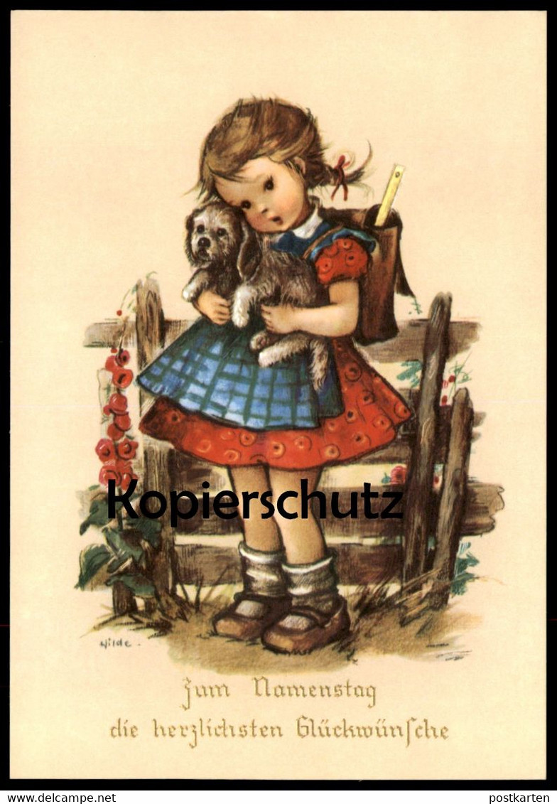ALTE KÜNSTLER-POSTKARTE ZUM NAMENSTAG DIE HERZLICHSTEN GLÜCKWÜNSCHE Kind girl child enfant Hund dog chien cpa AK