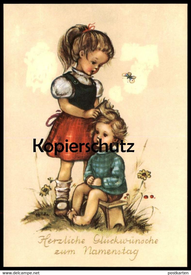 ALTE KÜNSTLER-POSTKARTE HERZLICHE GLÜCKWÜNSCHE ZUM NAMENSTAG Kind girl boy child enfant Schmetterling postcard cpa AK