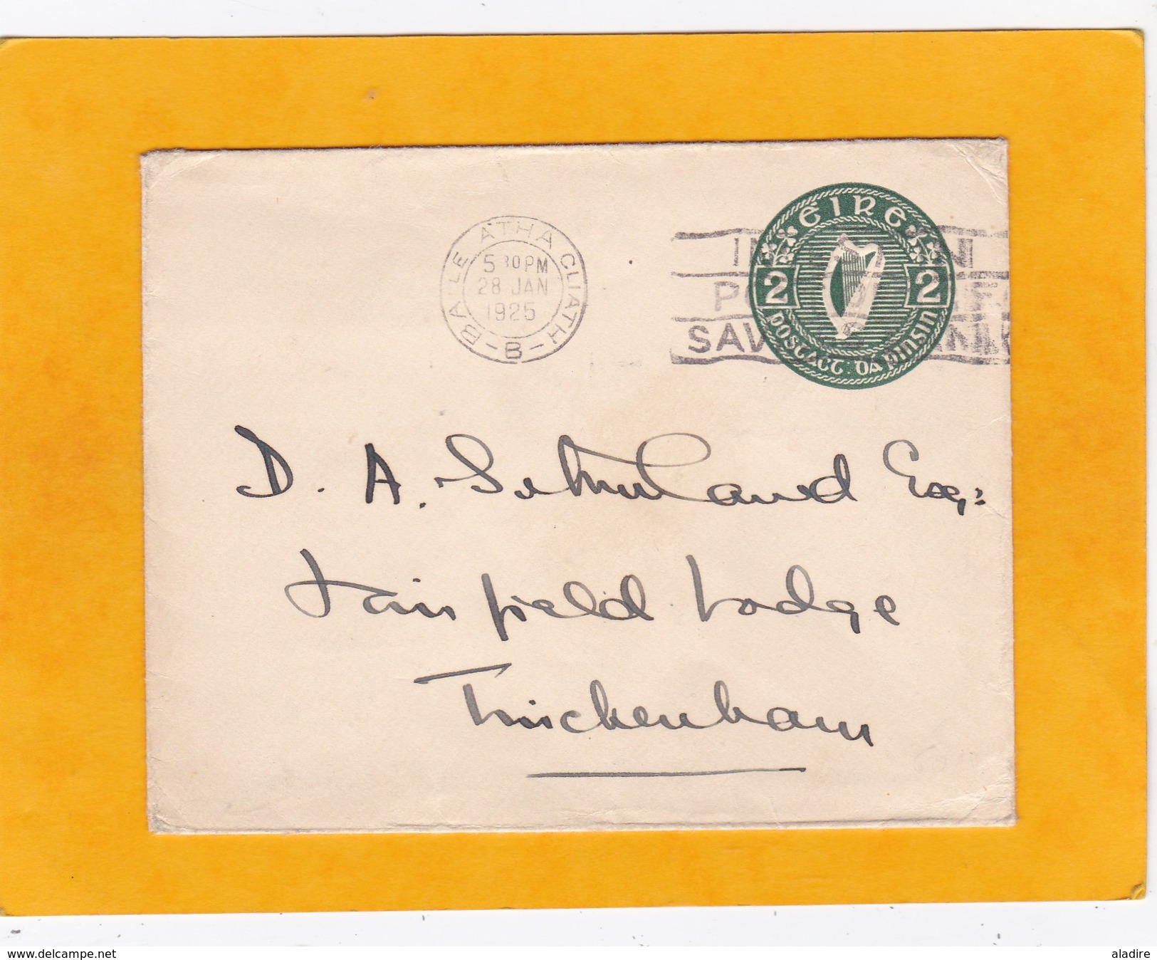 1925 - Enveloppe Entier Postal 2 D  Lyre Vert De Baile Atha Cliath  (Dublin) Vers Twickenham, Angleterre - Briefe U. Dokumente