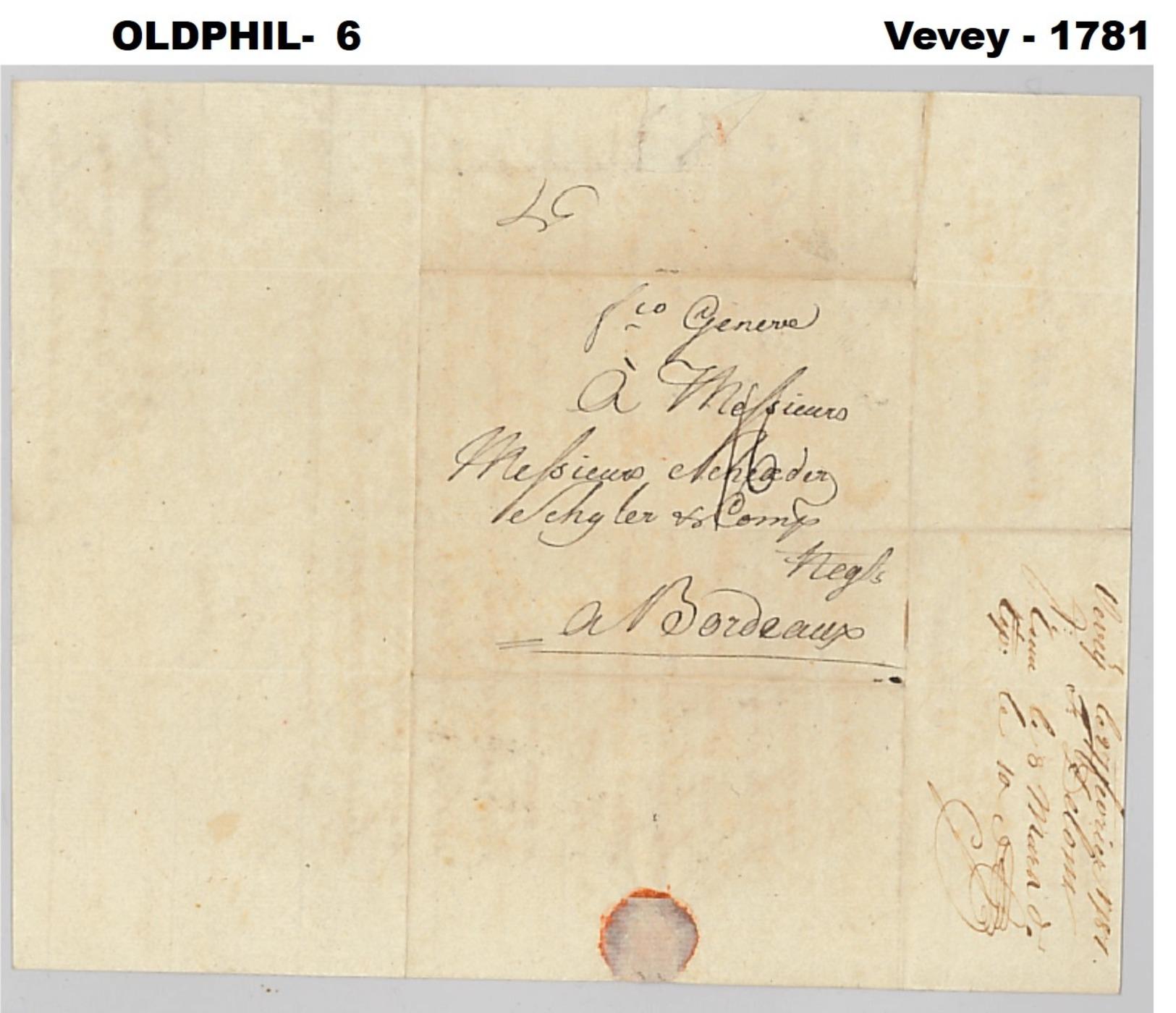 1781, Lettre De VEVEY - Suisse