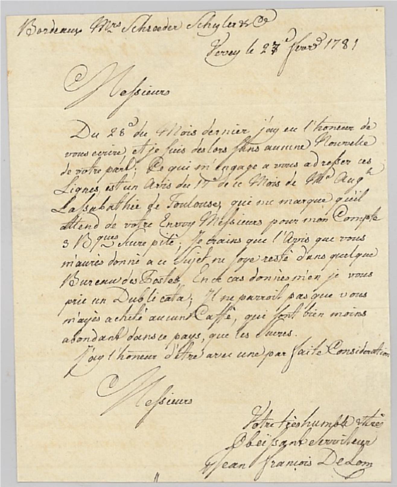1781, Lettre De VEVEY - Schweiz