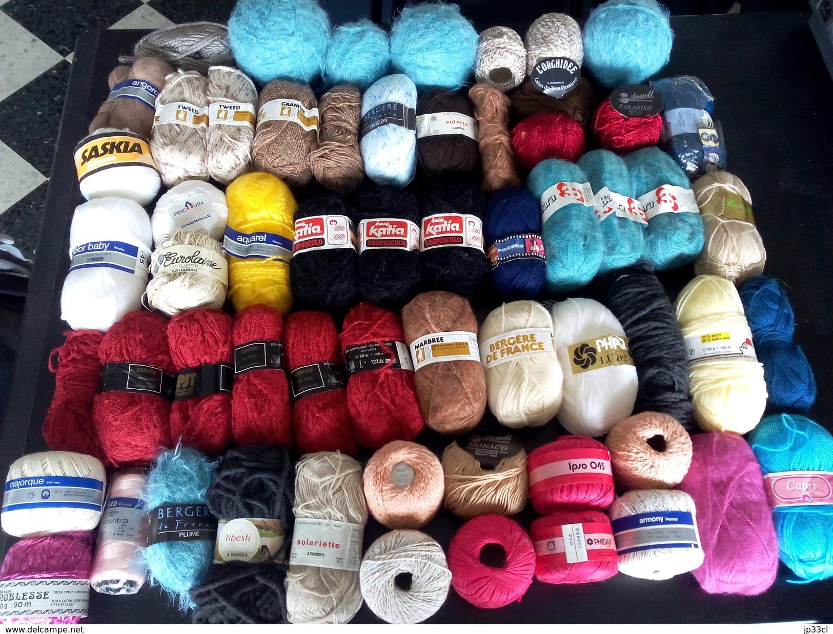 Lots De Plus De 3 Kilos De Laines Et Cotons Divers (60 Pelotes Toutes Marques Toutes Couleurs) - Idéal Pour Patchwork ! - Wool