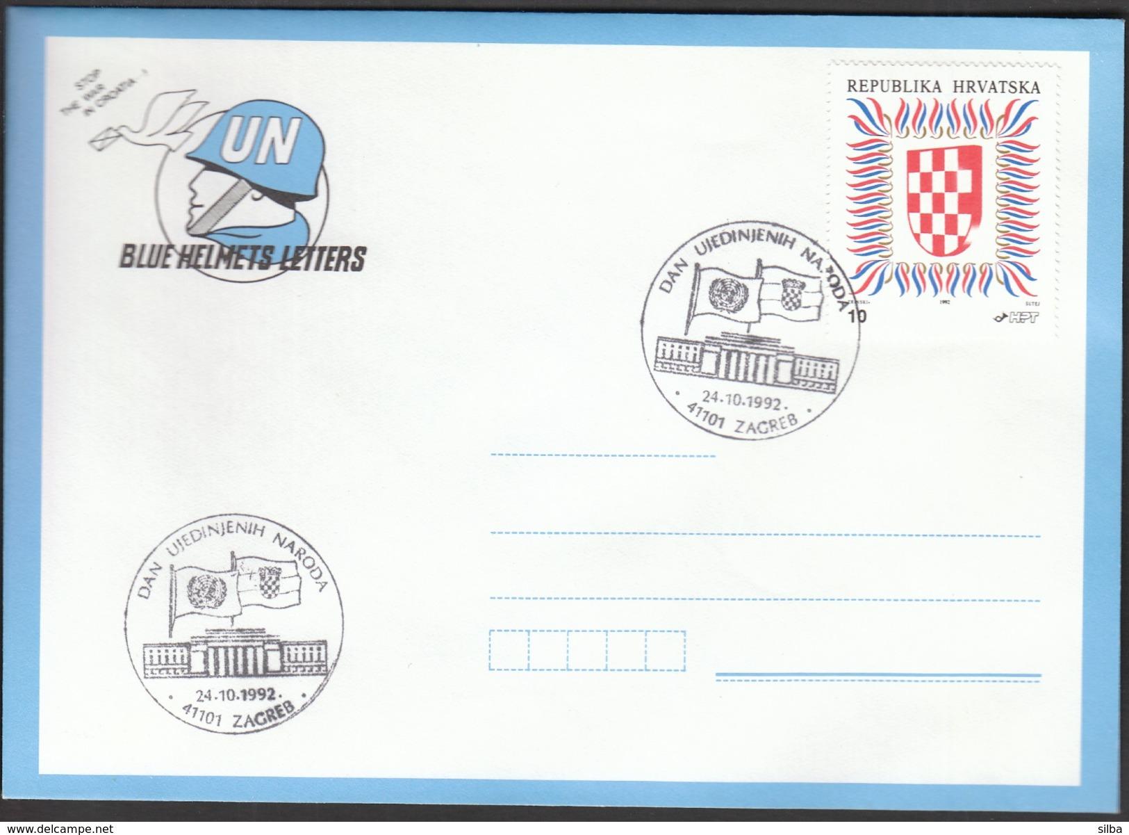 Croatia Zagreb 1992 / United Nations Day / Flags - ONU