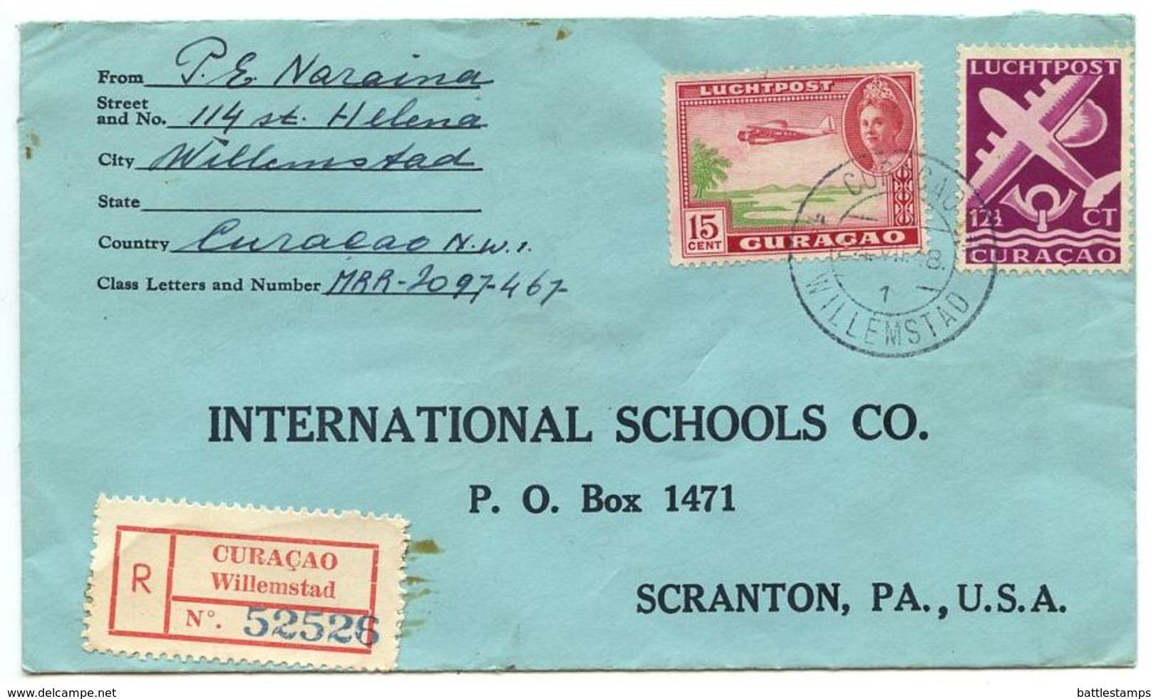 Netherlands Antilles 1948 Registered Cover Curaçao, Willemstad To U.S. W/ Scott C19 & C33A - Curaçao, Antilles Neérlandaises, Aruba