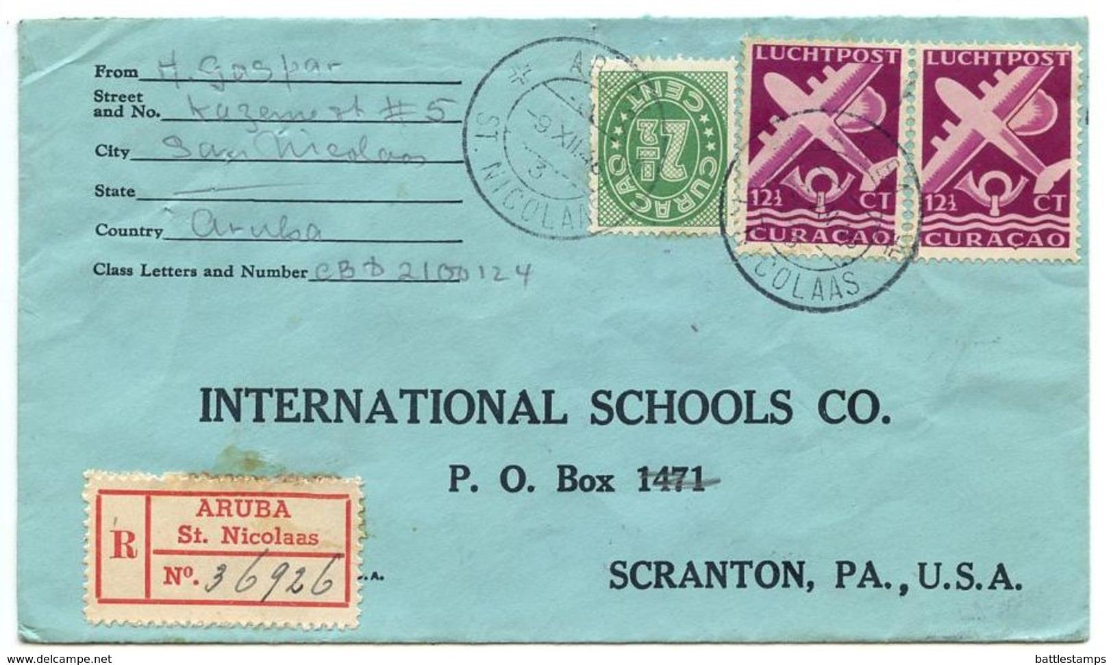Netherlands Antilles 1948 Registered Cover Aruba, St. Nicolaas To U.S. W/ Scott 150 & C33A - Curaçao, Antilles Neérlandaises, Aruba