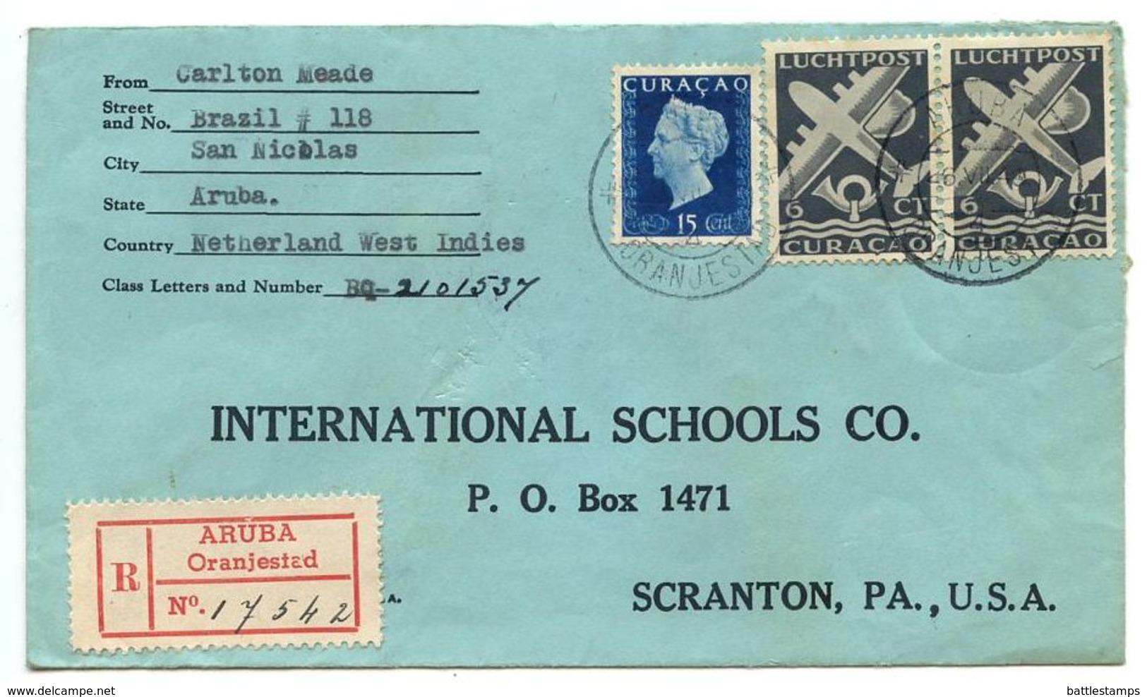 Netherlands Antilles 1949 Registered Cover Aruba, Oranjestad To U.S. W/ Scott 191 & C32A - Curaçao, Antilles Neérlandaises, Aruba