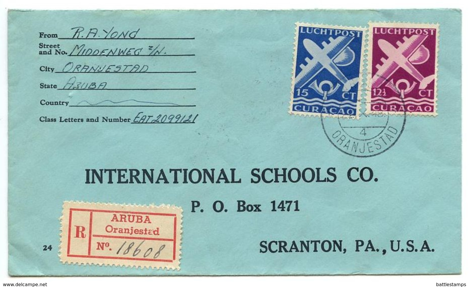 Netherlands Antilles 1948 Airmail Cover Aruba, Oranjestad To U.S. W/ Scott C33A-C34 - Curaçao, Antilles Neérlandaises, Aruba