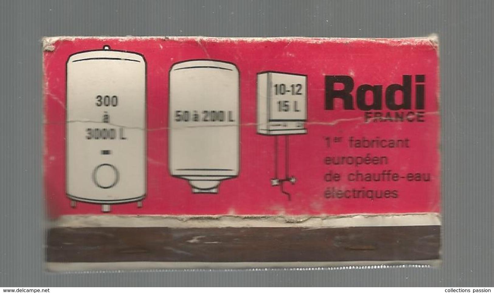 G-I-E , Tabac , Boites , Pochette D'ALLUMETTES , 2 Scans ,  Publicité  , Chauffe Eau RADI , 9 X 5 - Matchbox Labels