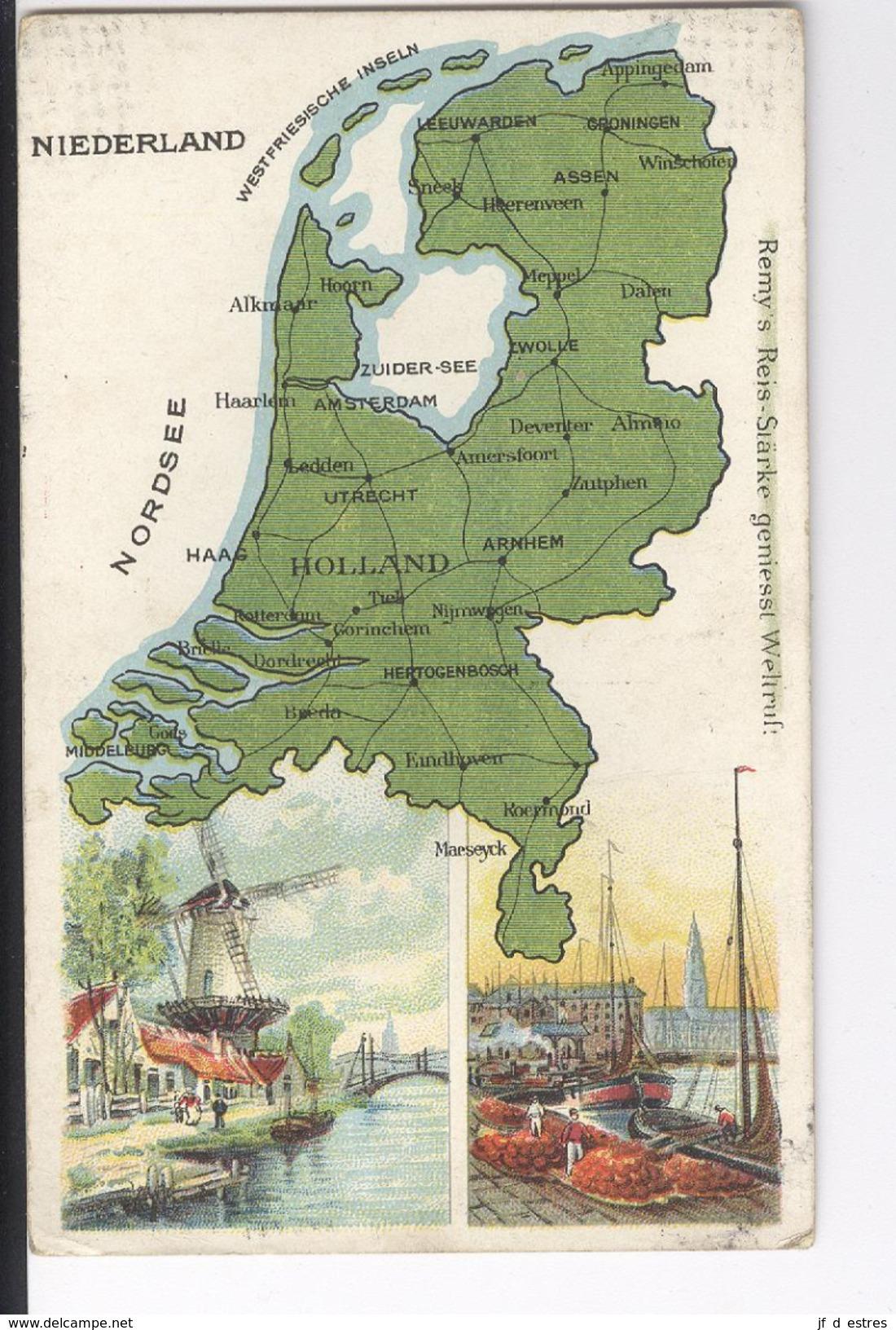 CPAS Niederland   Carte Géographique Illustrée Amidon Remy 1919 Nederland Pays-Bas - Cartes Postales