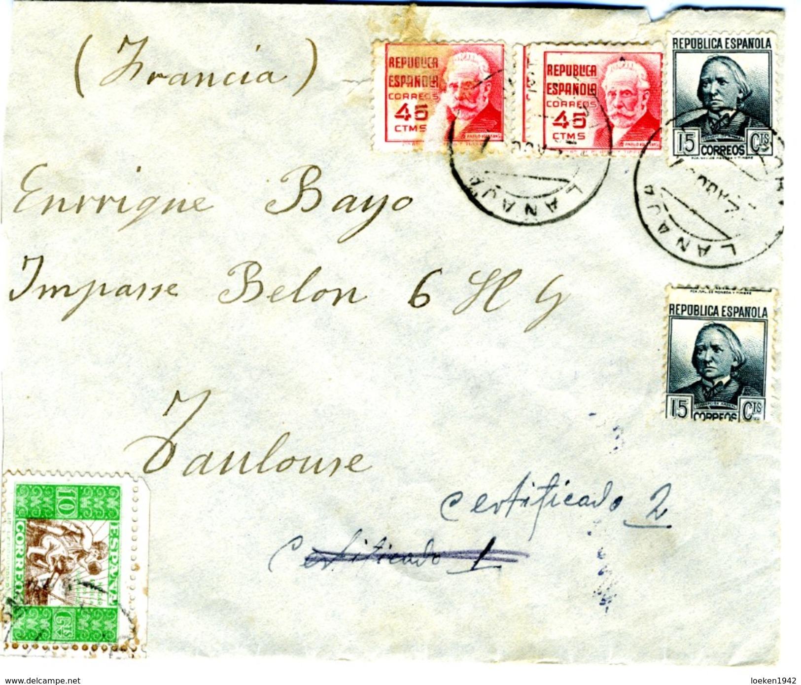 ESPAÑA GUERRA CIVIL 1937- CORREO CAMPAÑA 29 Desde LANAJA Frente De HUESCA Hasta TOULOUSE   EL496 - 1931-Today: 2nd Rep - ... Juan Carlos I