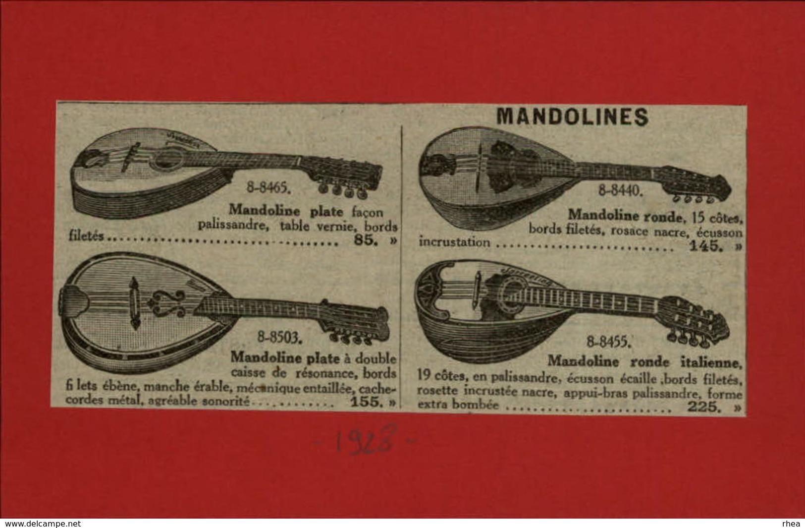 MUSIQUE - INSTRUMENTS DE MUSIQUE - Publicités Issues D'une Revue De 1928 Collées Sur Petit Carton Recto-verso Mandoline - Publicités