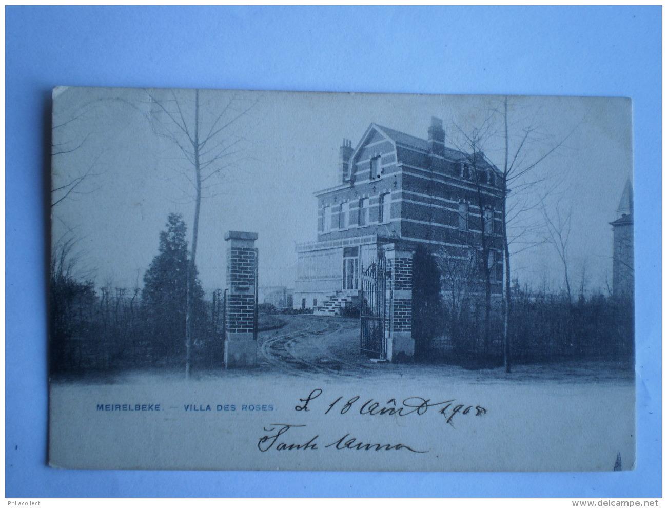 Meirelbeke (Merelbeke) : Villa Des  Roses 1906 Ed.Bertels// Card Looks Blue , But Is NOT! Zeldzaam - Merelbeke